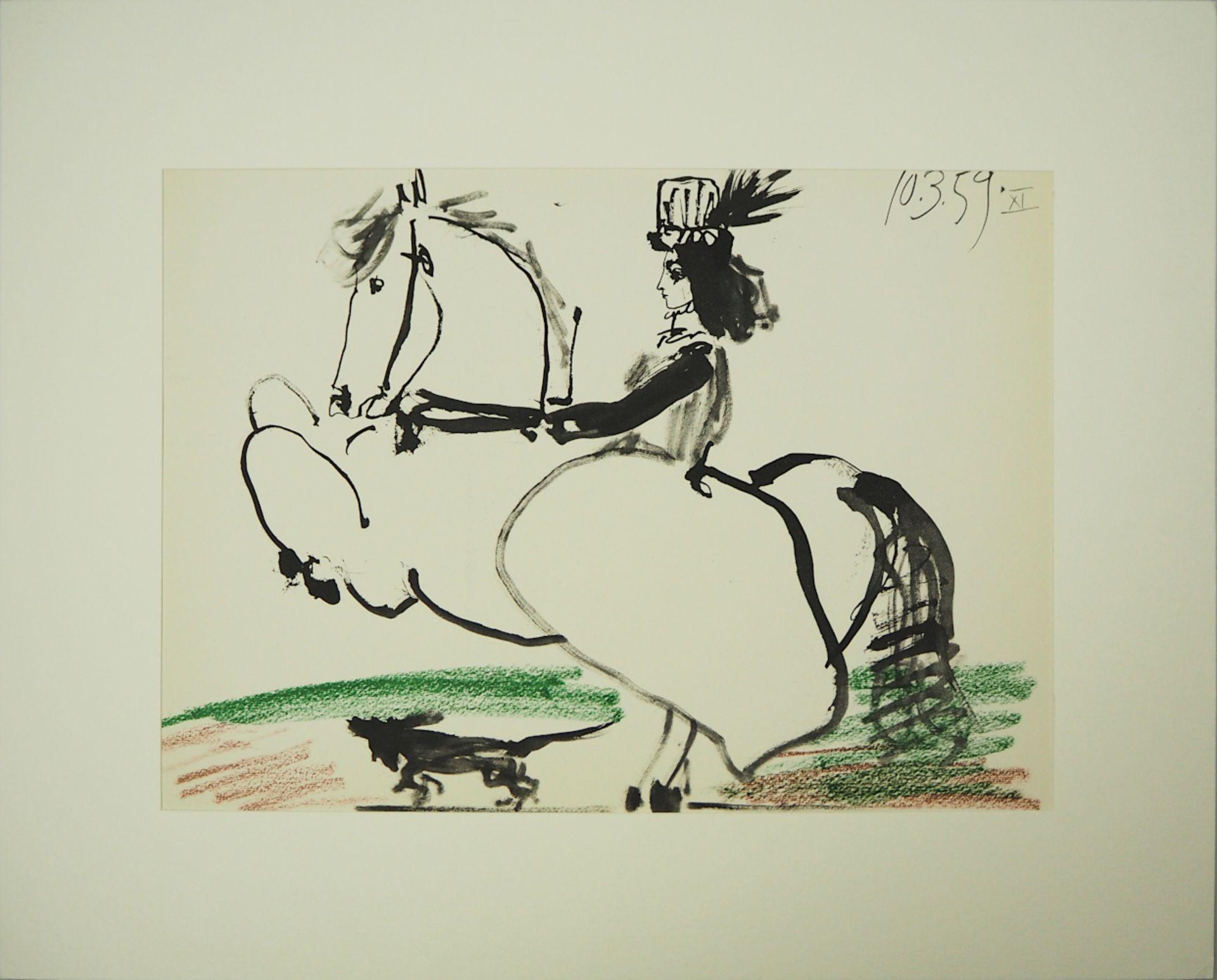 """1 Farboffsetlithographie """"Jacqueline en tenue de chasse"""" rücks. zugeschrieben Pablo PICASSO"""