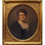 """1 Ölgemälde """"Portraitmedaillon einer Frau mit Pelzstola und Perlenmedaillon"""" R. u. sign. R. ST"""