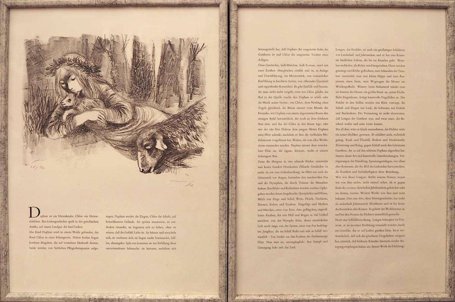 """7 Lithographien zu dem Roman """"Daphnis und Chloé"""" des LONGUS der Künstlerin Hanna NAGEL <br - Bild 2 aus 5"""