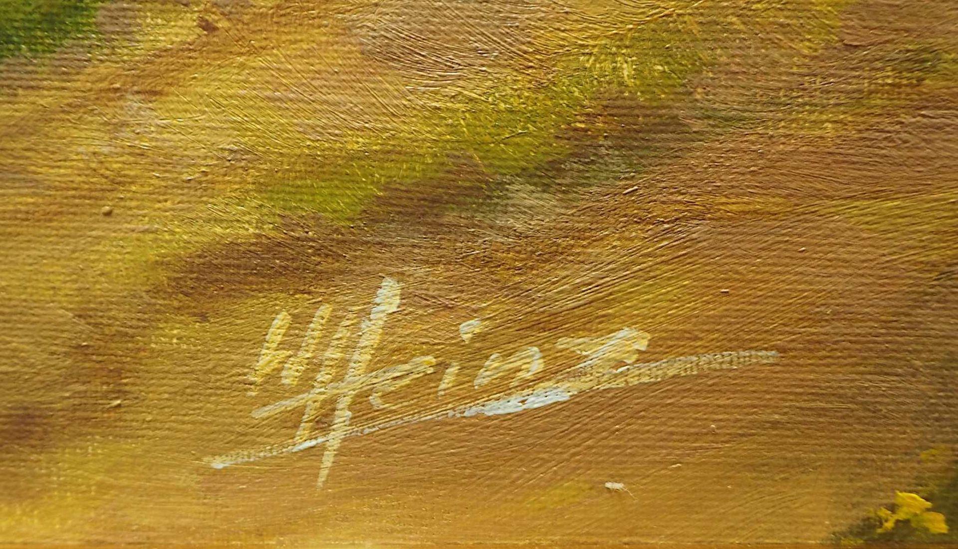 """1 Ölgemälde """"Heuernte in der oberbayerischen Voralpenlandschaft"""" L.u. sign. W. HEINZ <br / - Bild 3 aus 4"""