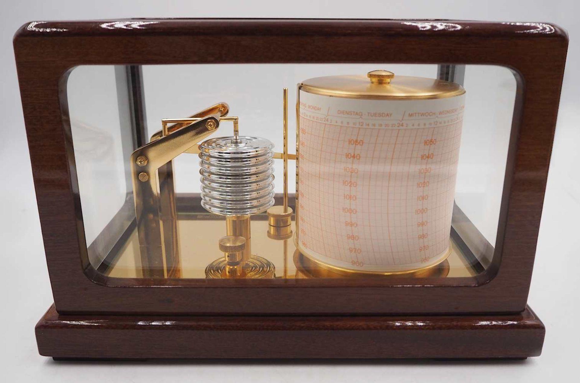 1 Trommelbarograph WEMPE CHRONOMETERWERKE GmbH, 20. Jh. wohl Mahagoni-Gehäuse allseit - Bild 6 aus 6
