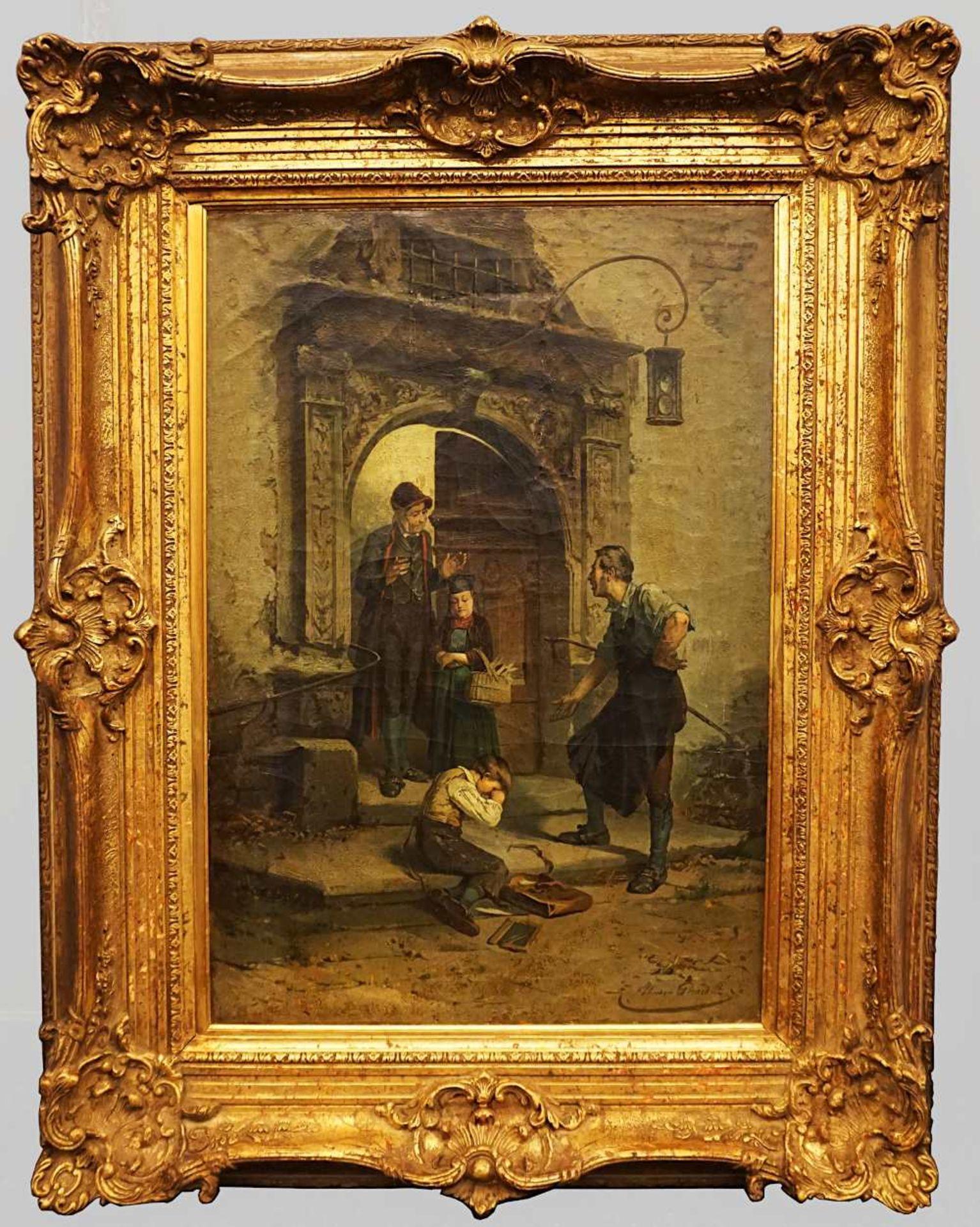 """1 Ölgemälde """"Der Sohn des Schmieds - Die zerbrochene Schiefertafel"""", R.u. sign. Théodore GÉR - Bild 4 aus 4"""