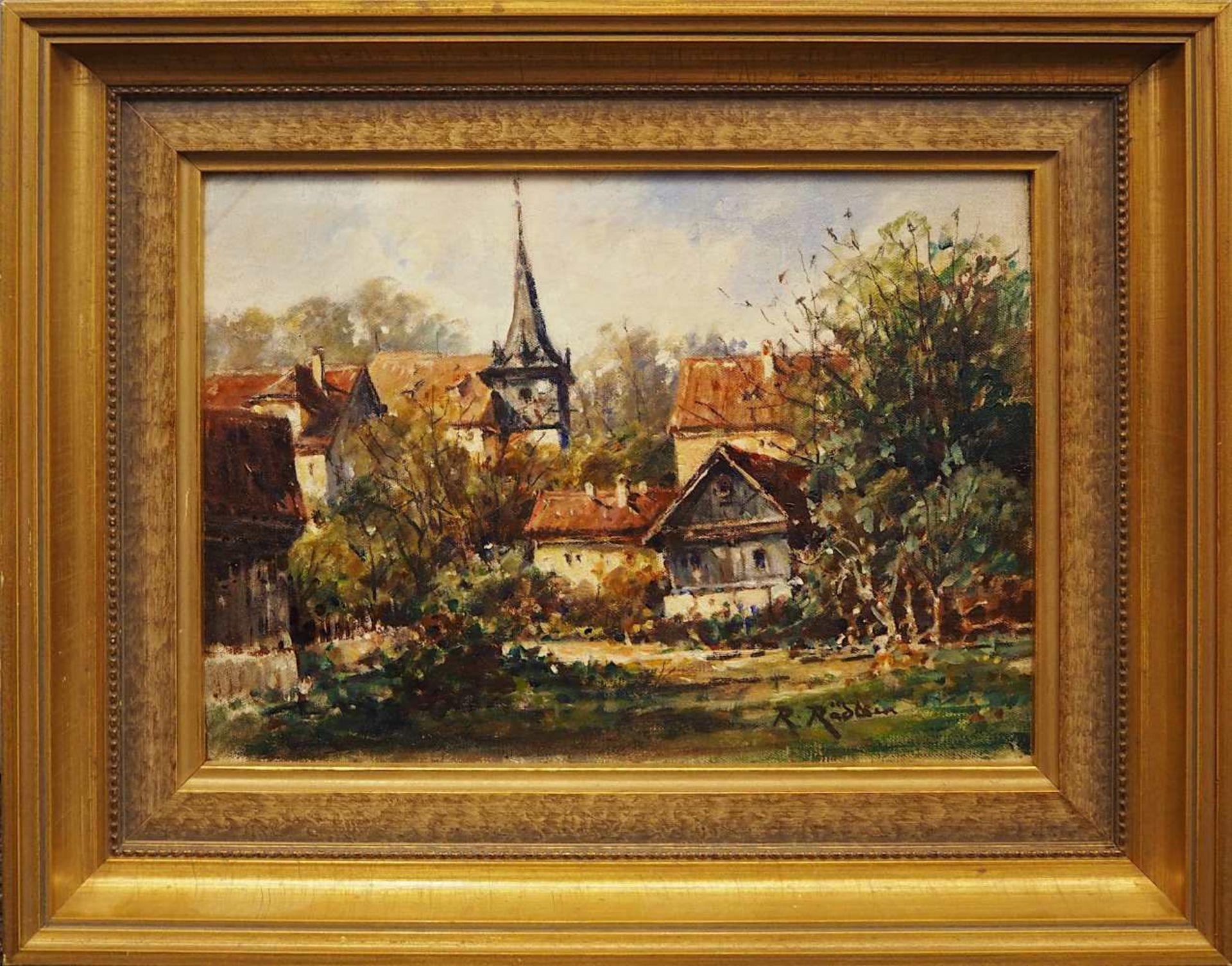 """1 Ölgemälde """"Beschauliche Dorfszenerie"""" R.u. sign. R. RÄDLEIN (wohl Rudolf R. 1858- - Bild 2 aus 4"""