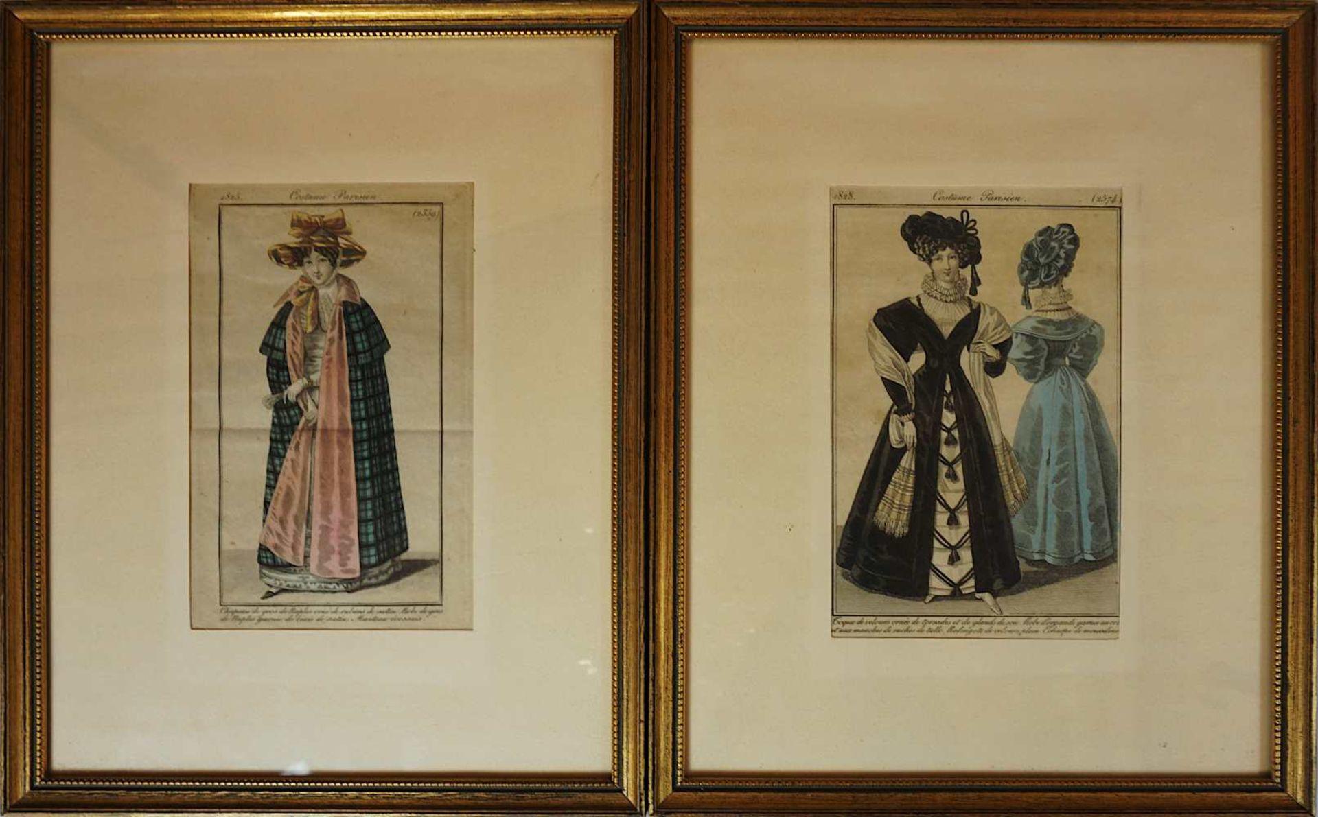 """2 kolorierte Stahlstiche mit Abbildungen der Neusten Pariser Mode wohl je aus: """"Journa"""