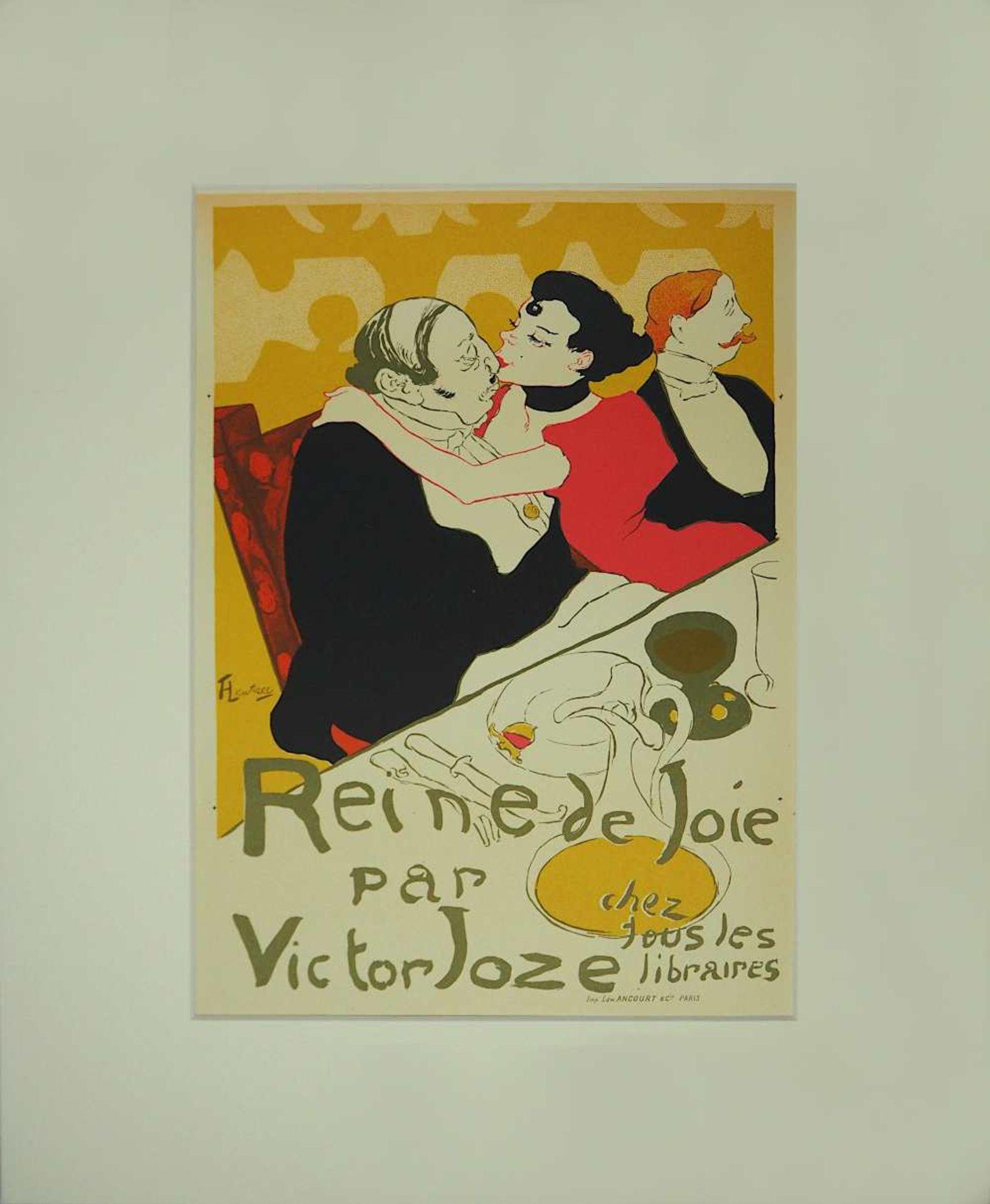 "1 Farblithographie ""Reine de Joie"" L. mittig sign./rücks. zugeschrieben TOULOUSE LAUTREC <b"