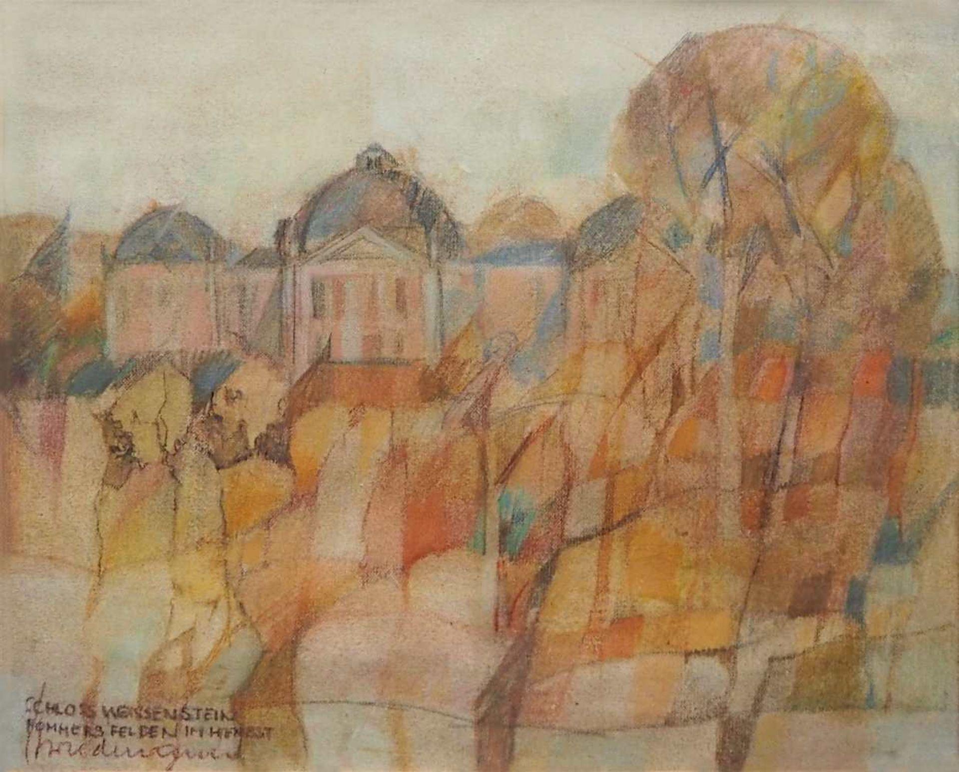 """1 Gouache L.u. sign. H. WIEDEMANN (wohl Prof. Hans W. 1924-2011), """"Schloß Weissenstein - Pommer"""
