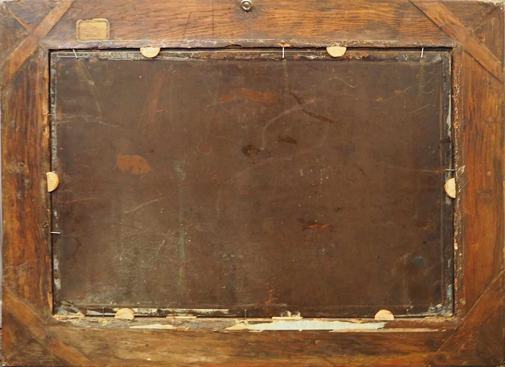 "1 Ölgemälde L.u. sign. P.J. PETIT (wohl Pierre-Joseph P. 1768-1825),""Musikabend im Freien"",</b - Bild 4 aus 4"