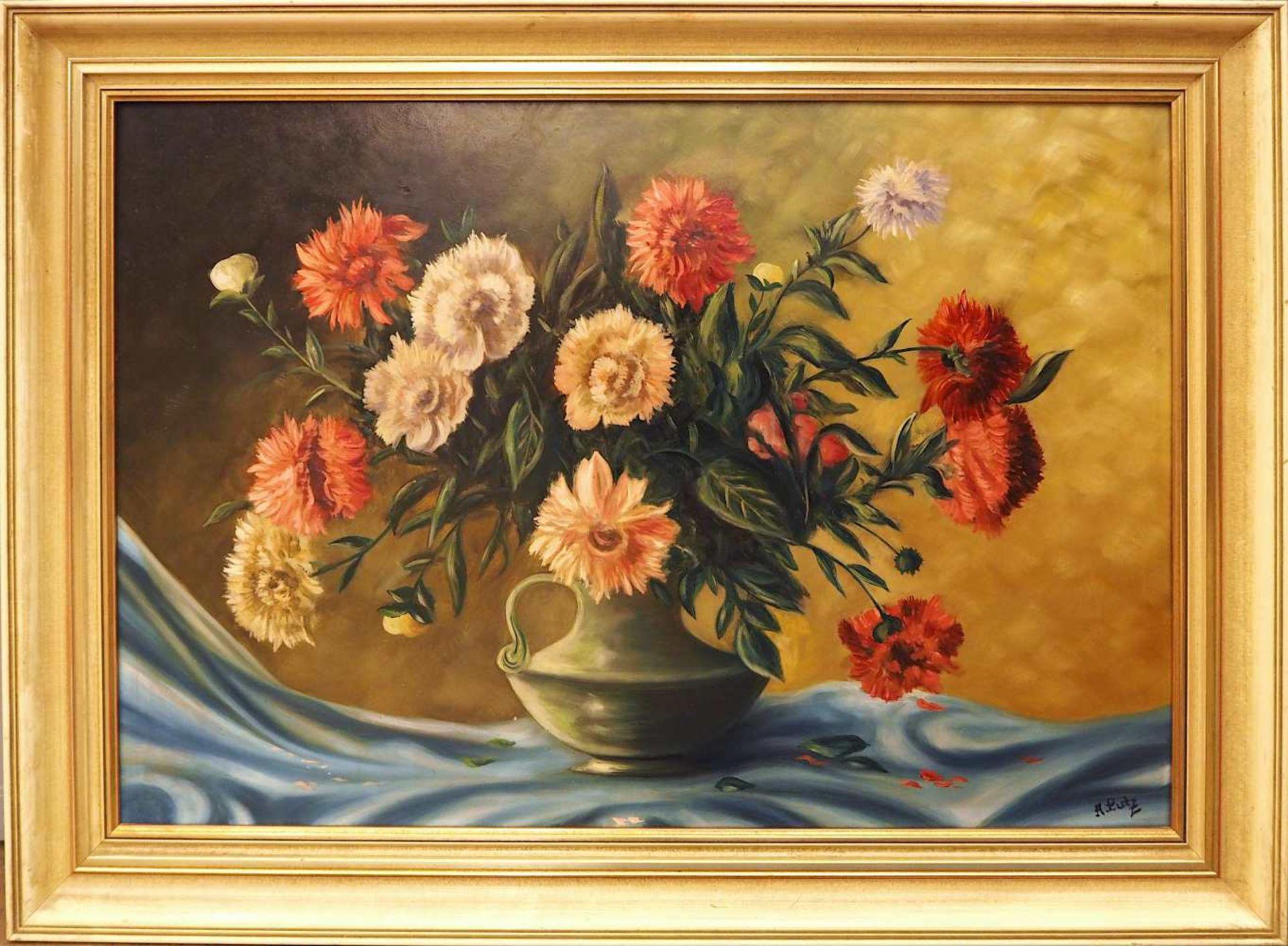 """1 Konv. Ölgemälde 20. Jh. versch. Künstler und Motive, z.T. unsigniert u.a. """"Blumen - Bild 4 aus 6"""