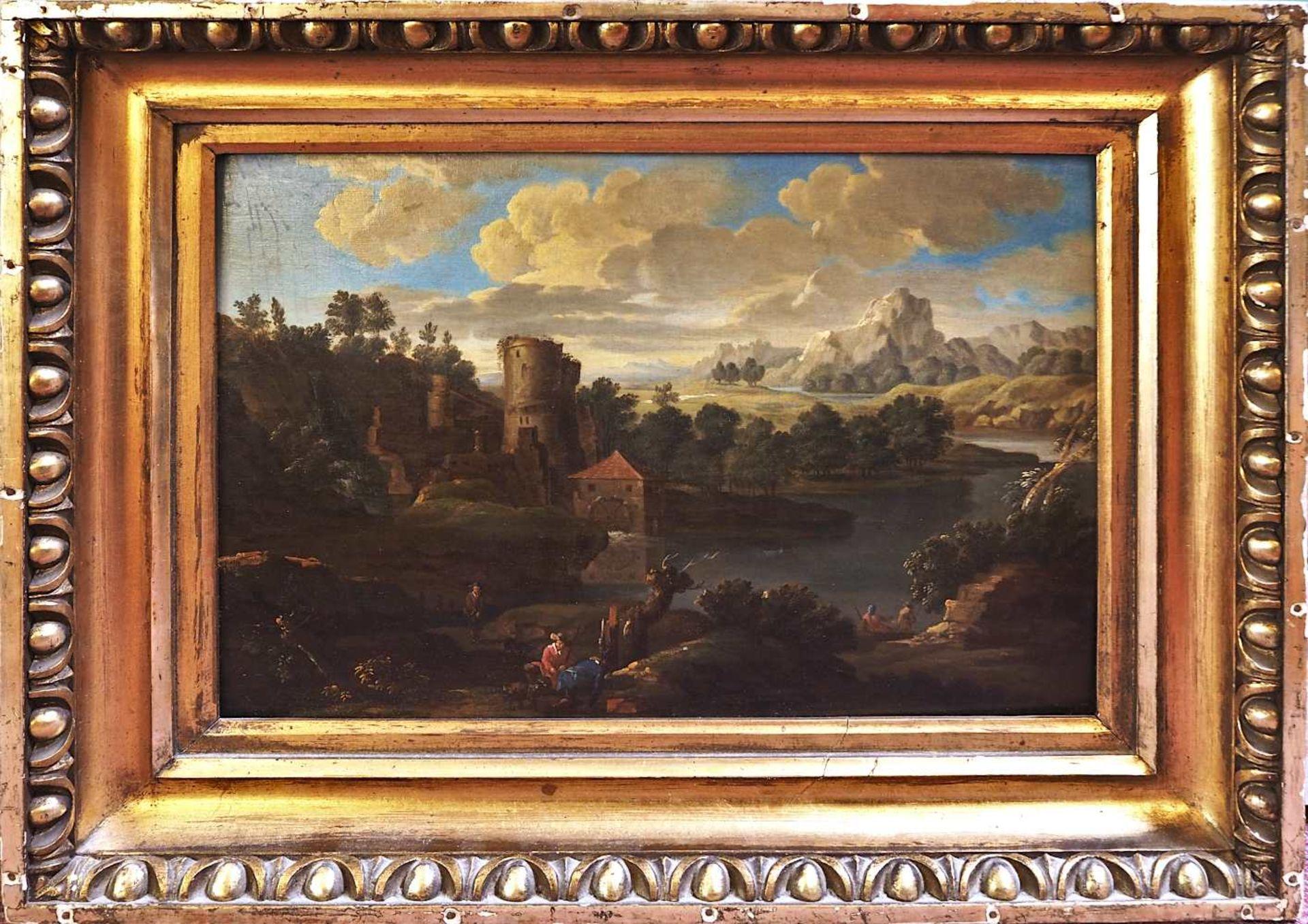 """1 Ölgemälde """"Phantasielandschaft mit Ruine, Jägern und Fischern"""" unsign. (wohl 17./ - Bild 2 aus 3"""