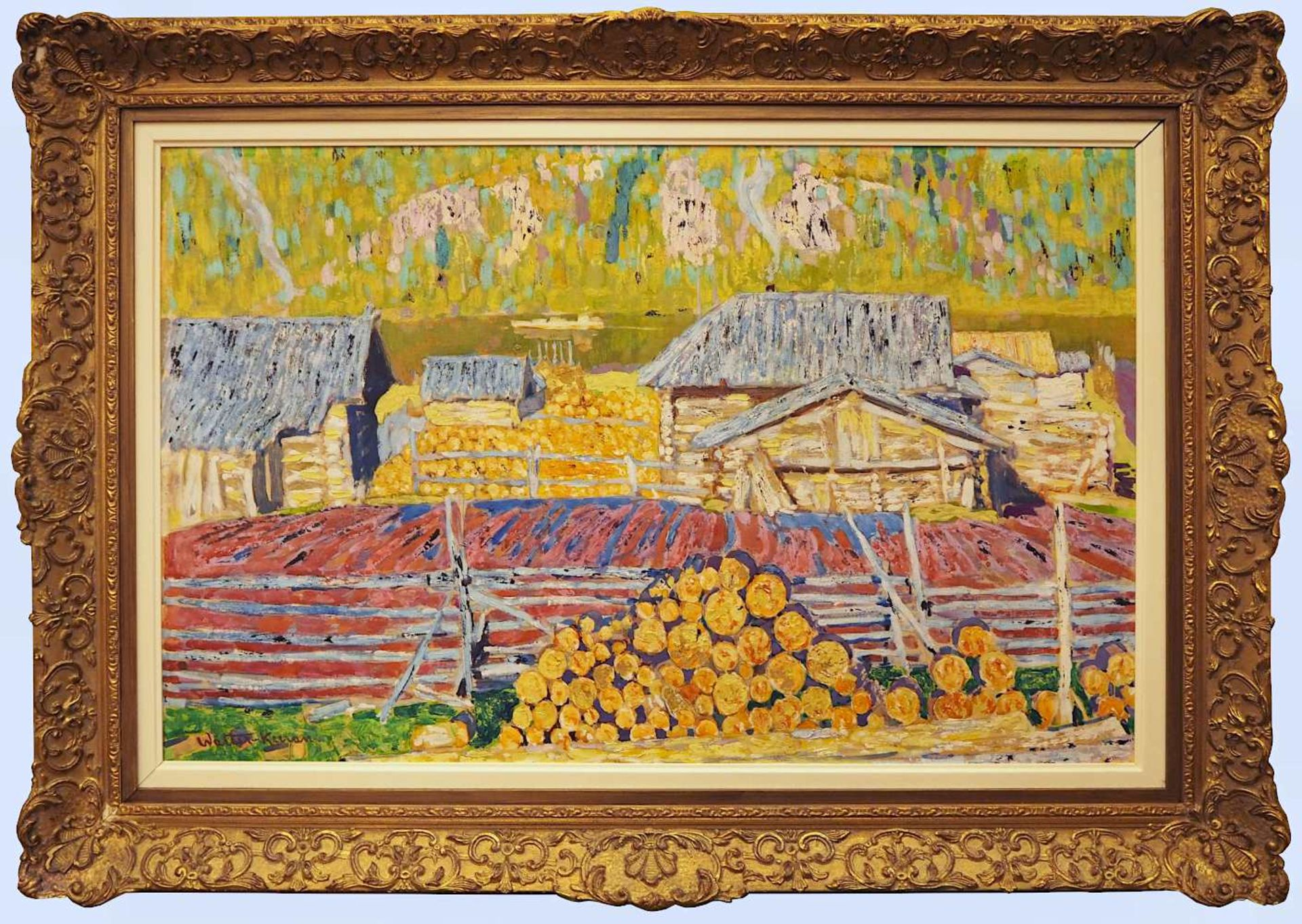 """1 Ölgemälde """"Landschaft mit Sägewerk"""" L.u. bez. Walter KURAU (wohl 20. Jh.) Öl/Lwd - Bild 2 aus 4"""