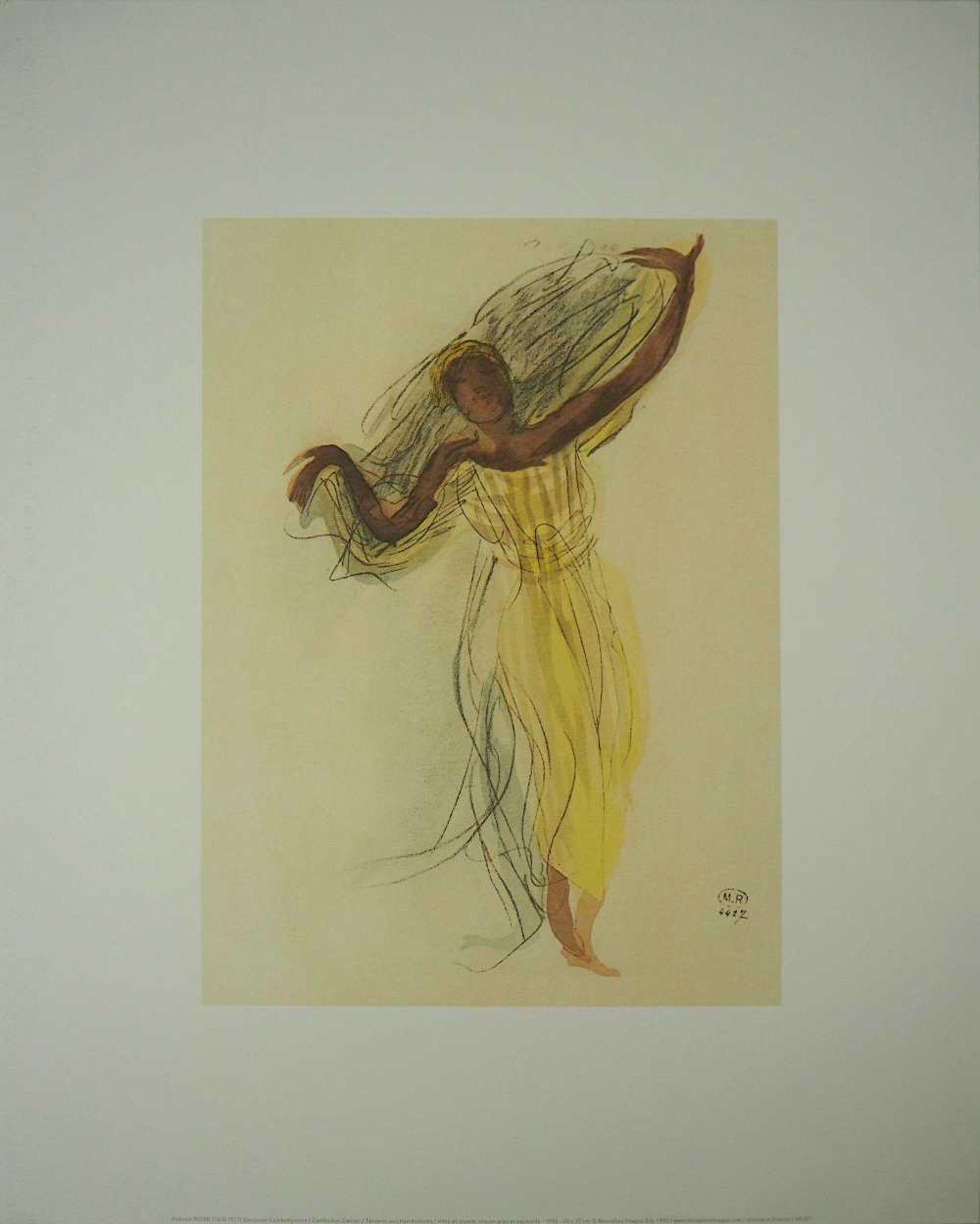 "2 Farboffset-Lithographien ""Danseuses Cambodgiennes"" rücks. zugeschrieben Auguste RODIN <br - Bild 4 aus 5"