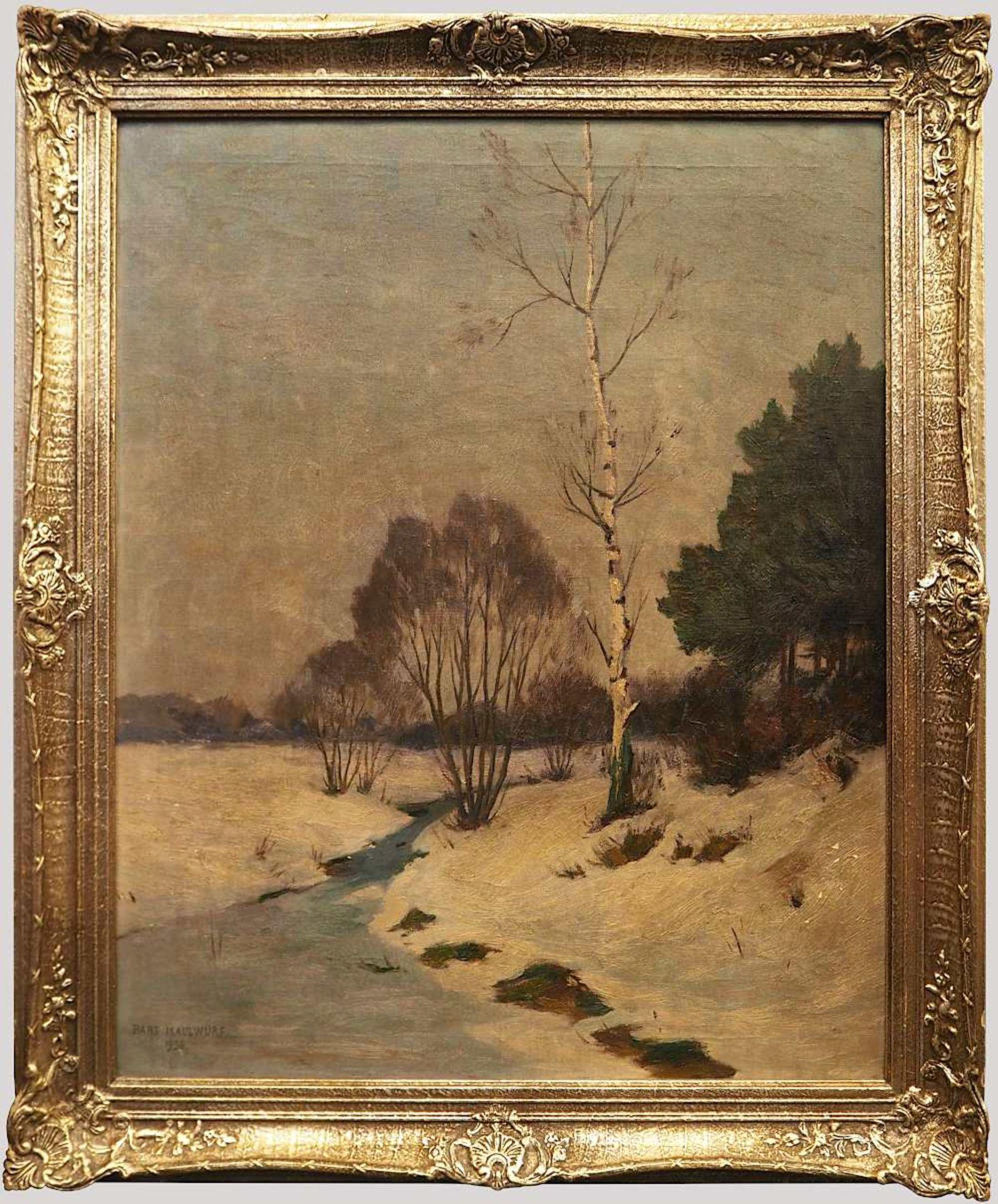 """1 Ölgemälde """"Einsame Birke am winterlichen Bachlauf"""" L.u. sign. Hans MAULWURF (wohl - Bild 2 aus 4"""