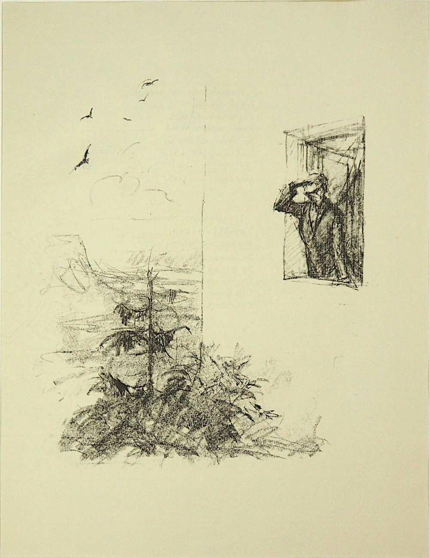 """2 Lithographien """"Sehnsucht"""" und """"Anliegen"""" rücks. zugeschrieben Hans MEID (wohl 1883- - Bild 2 aus 5"""