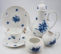 """1 Kaffeeservice Porzellan ROSENTHAL """"Romanze in Blau"""" weißer Fond mit dunkelblauen Bl"""