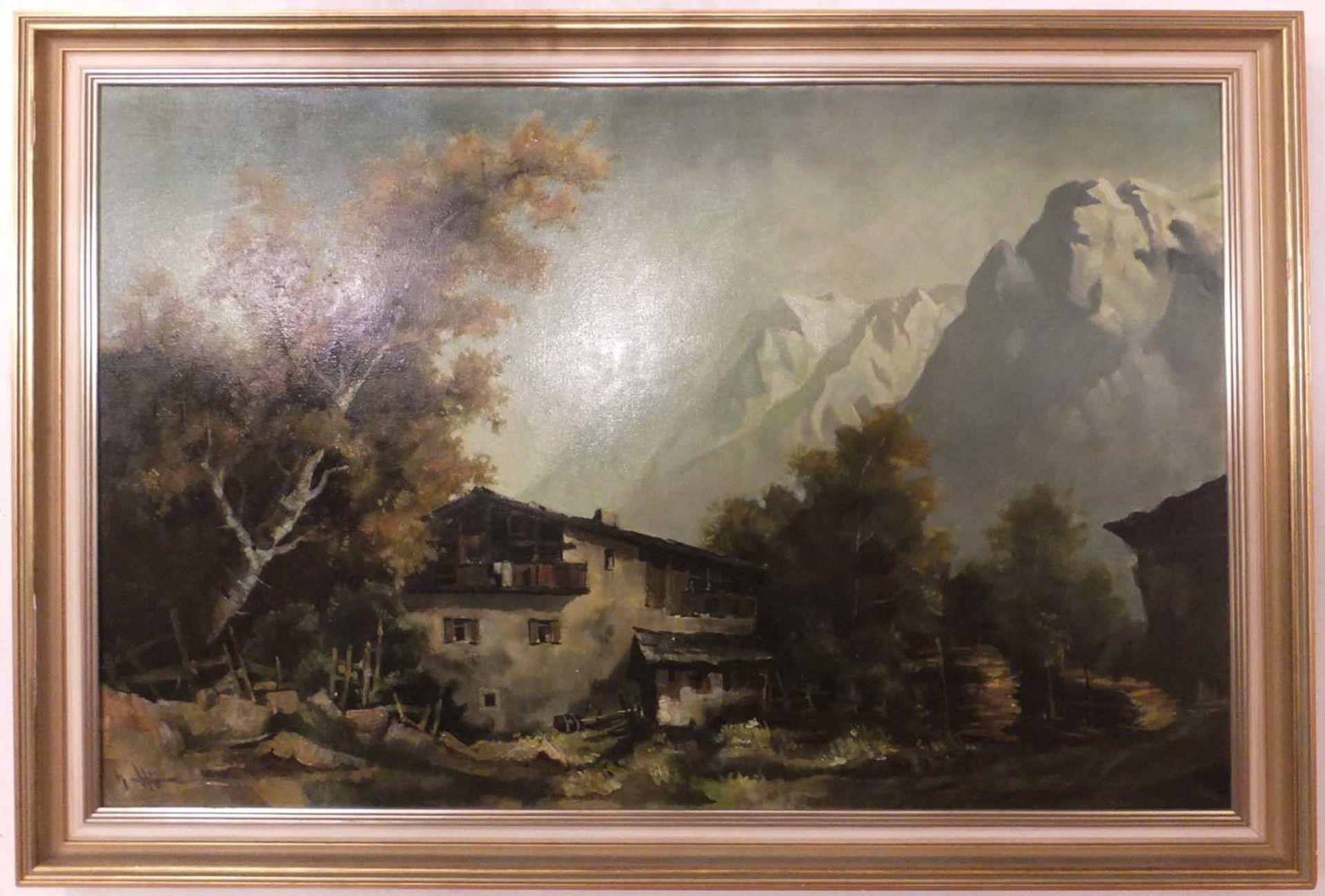 """1 Ölgemälde """"Berggehöft vor Gebirgspanorama"""", L.u. unleserlich signiert Öl/Lwd., c - Bild 2 aus 2"""
