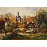 """1 Ölgemälde """"Beschauliche Dorfszenerie"""" R.u. sign. R. RÄDLEIN (wohl Rudolf R. 1858-"""