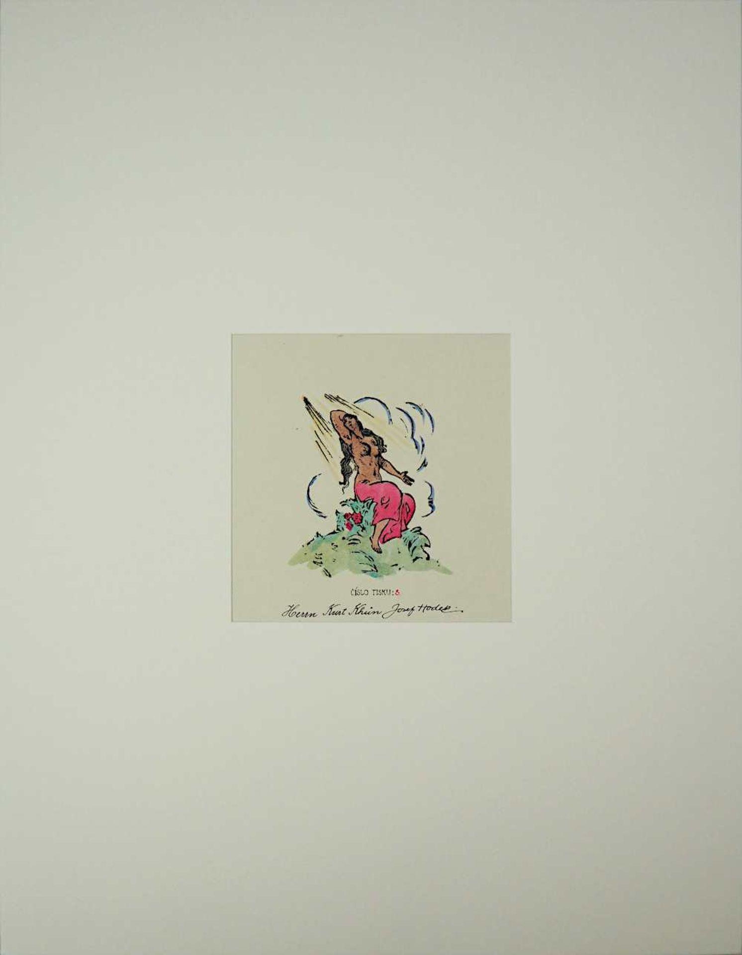 """1 handkolorierter Holzschnitt """"Aktdarstellung"""" R.u. sign. Josef HODEK (wohl 1888-1973) - Bild 2 aus 2"""