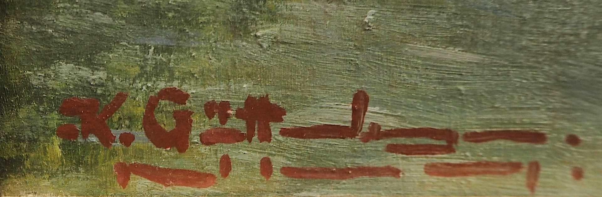"1 Ölgemälde ""Gebirgspanorama mit Bergsee"" L.u. unles. sign. K. GÜTTENBERGER (?) (wo - Bild 3 aus 4"