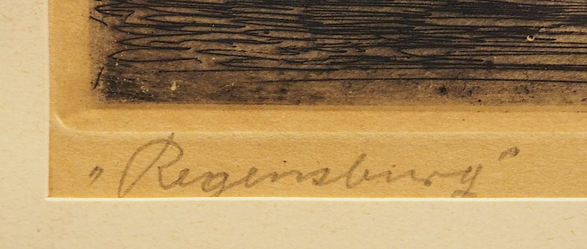 """1 Radierung L.u. betitelt """"Regensburg"""", R.u. bleistiftsign. Bruno REINHOLD (wohl 1 - Bild 2 aus 4"""
