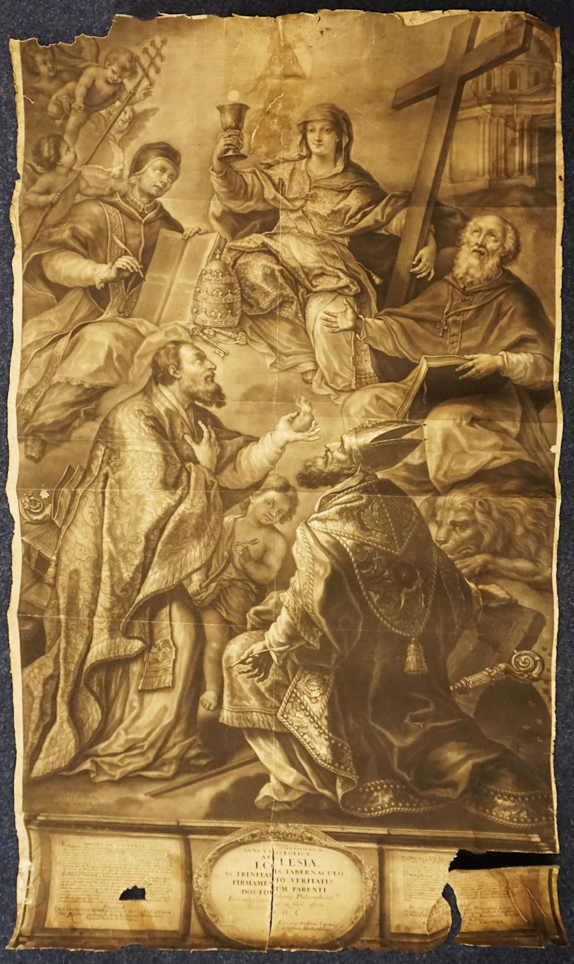 2 in Augsburg entstandene Grafiken der 1. Hälfte des 18. Jh.: 1 Thesenblatt anlässli