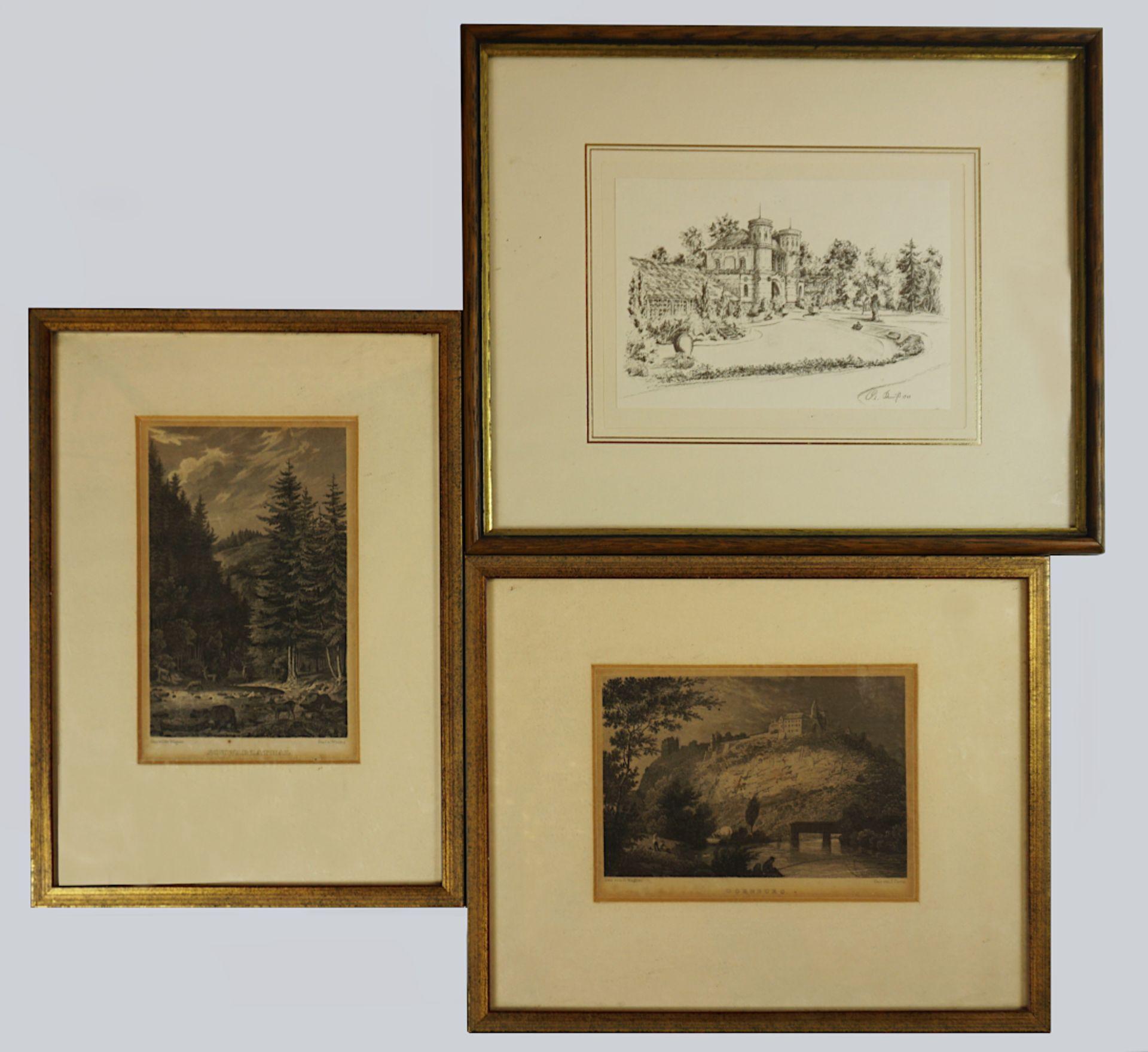 """2 Stahlstiche nach Zeichungen von Otto WAGNER (wohl 1803-1861): """"Schwarzathal"""" bez. """"g"""