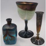 1 Konv. Glaskunst 20. Jh., je signiert: 1 Glaspokal sign. EISCH (wohl Erwin E. *1927)