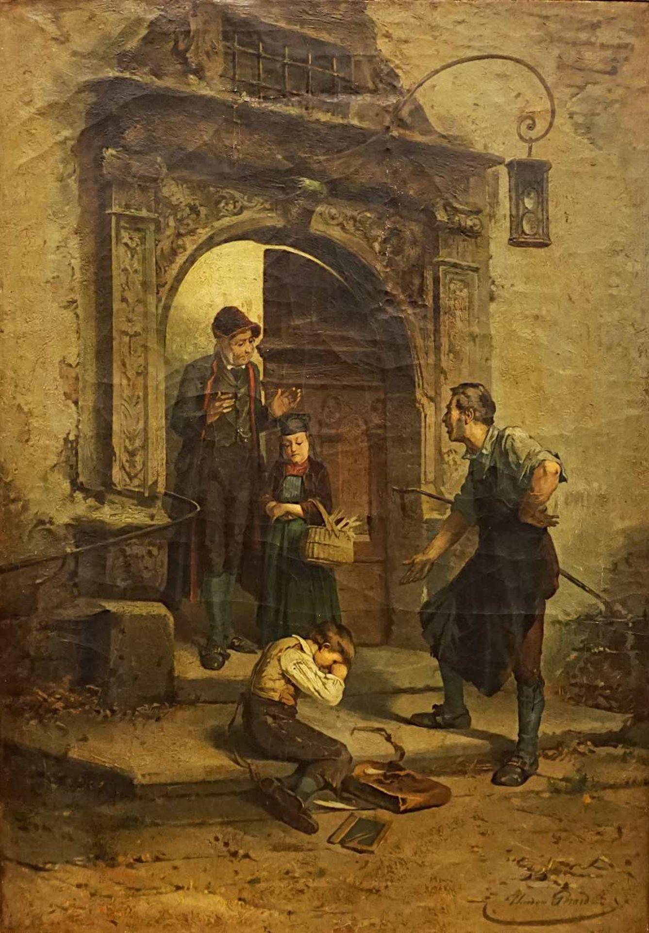"""1 Ölgemälde """"Der Sohn des Schmieds - Die zerbrochene Schiefertafel"""", R.u. sign. Théodore GÉR"""
