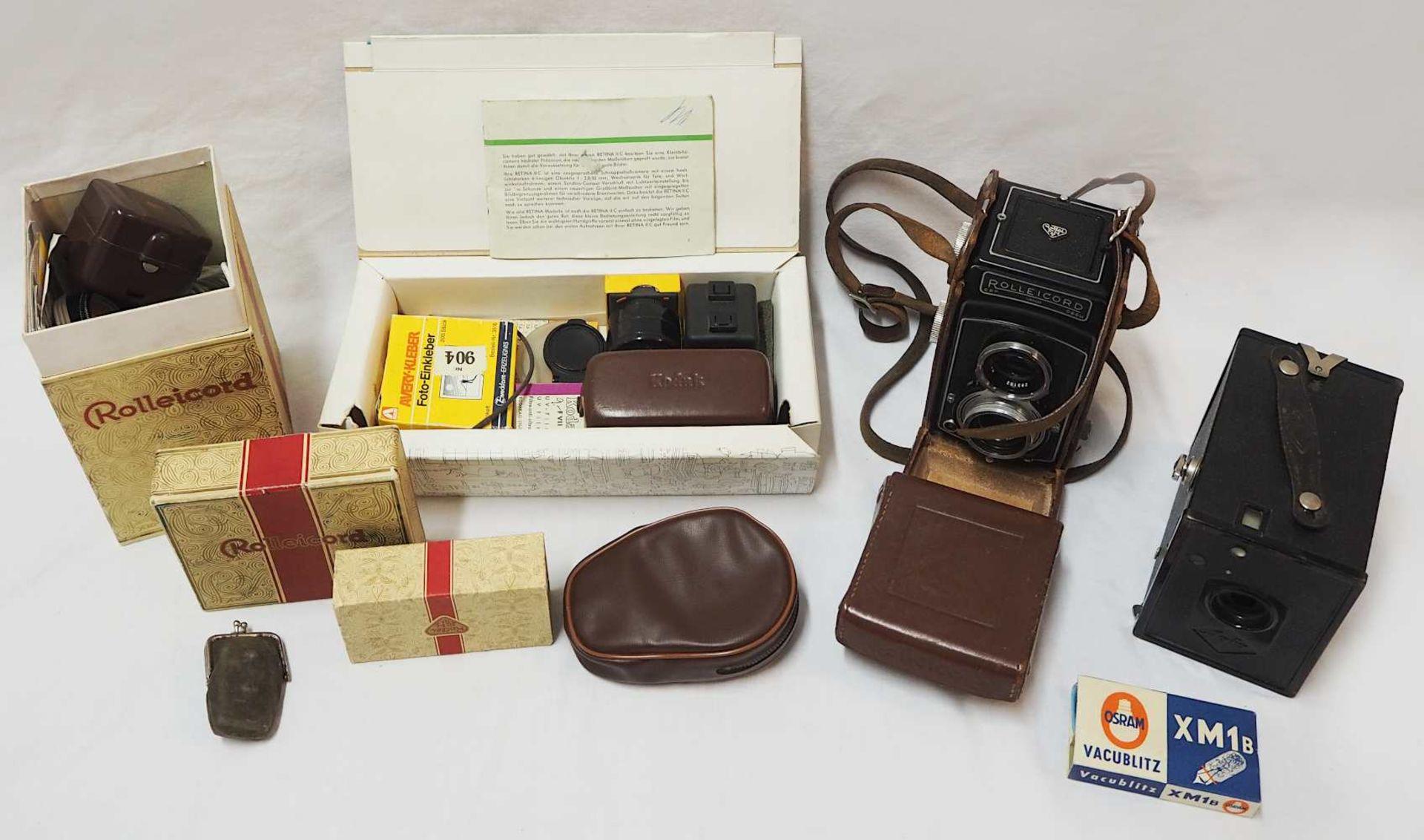 1 Fotoapparat ROLLEICORD Modellnr. 1369420, wohl 1950er Jahre mit Doppelobjektiv FRANK