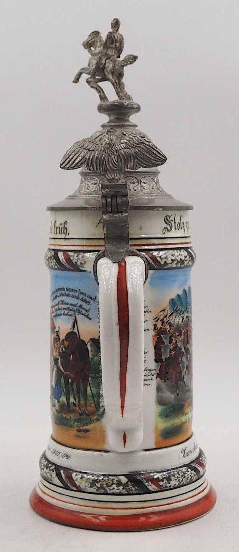 """1 Reservistenkrug Porzellan bezeichnet: """"1. Esk. Thür. Ulan. Regt. No. 6 in Hanau 1901/04"""" - Bild 4 aus 6"""