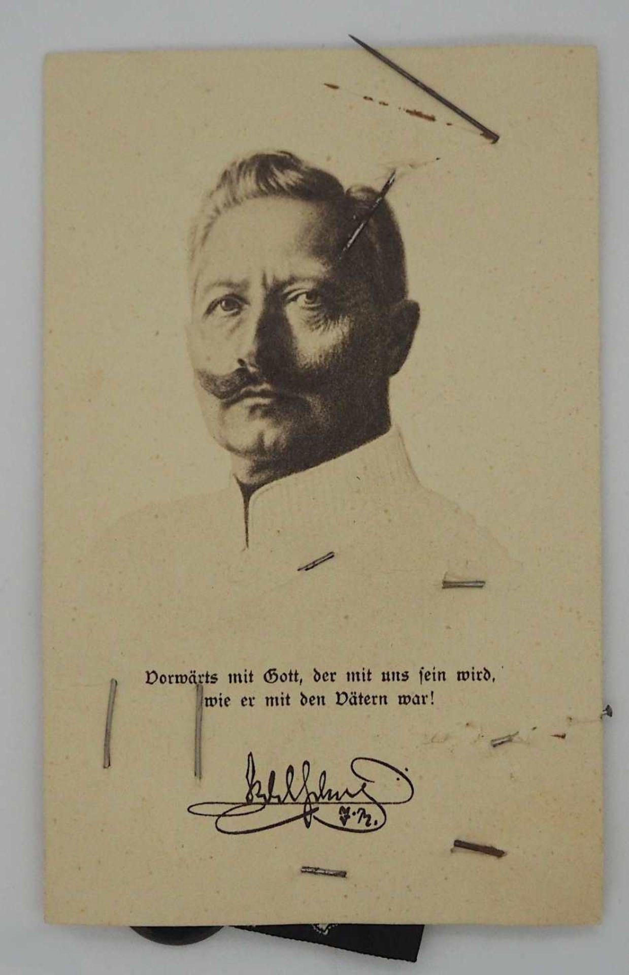 """1 kleines Konv. Anstecknadeln/Aufnäher 1. WK """"1914-Einigkeit macht stark""""; """"Wir hau'n - Bild 2 aus 2"""