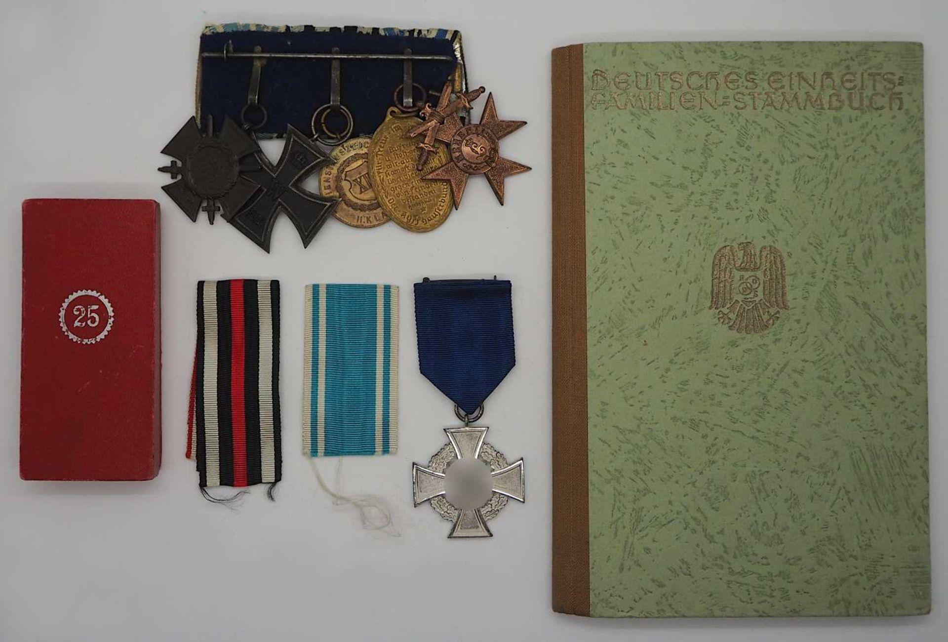 """1 Ordensspange mit versch. Abzeichen wohl 1. WK """"Ehrenkreuz des Weltkrieges 1914/1918"""" - Bild 2 aus 2"""