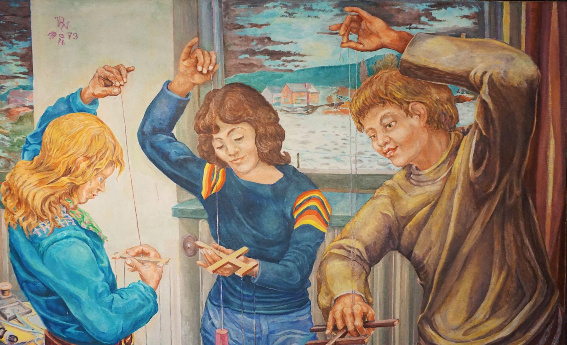 """1 Ölgemälde """"Marionettenspieler"""" L.o. monor. PN (wohl Paul Heinreich NODNAGEL 1928-2 - Bild 3 aus 6"""