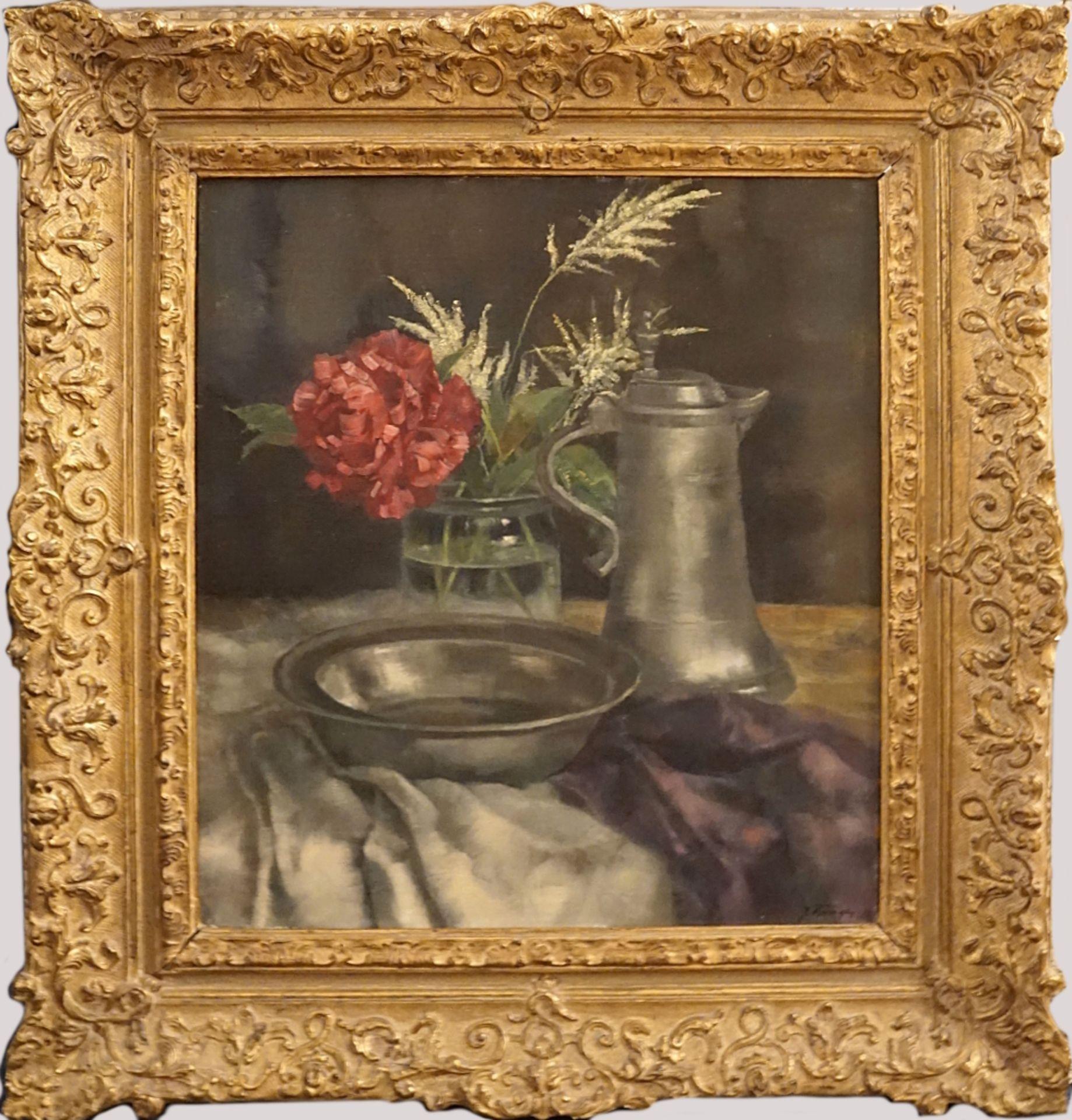 """1 Ölgemälde """"Stillleben"""" R.u. sign. J. BURGER (wohl Josef B. 1878-1966) Öl/Lwd. ca. - Bild 2 aus 4"""