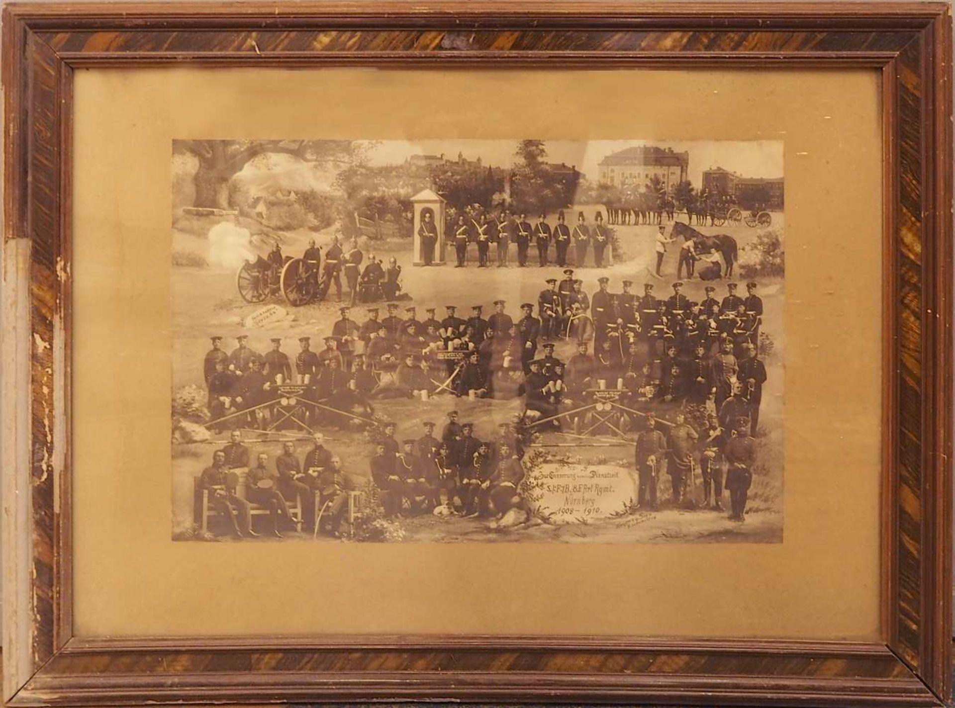 "1 Konv. Memorabilia 1. WK: 2 Fotografie-Kollagen: ""5./F/B.8.F.Art. Rgmt. Nürnberg 190 - Bild 2 aus 3"