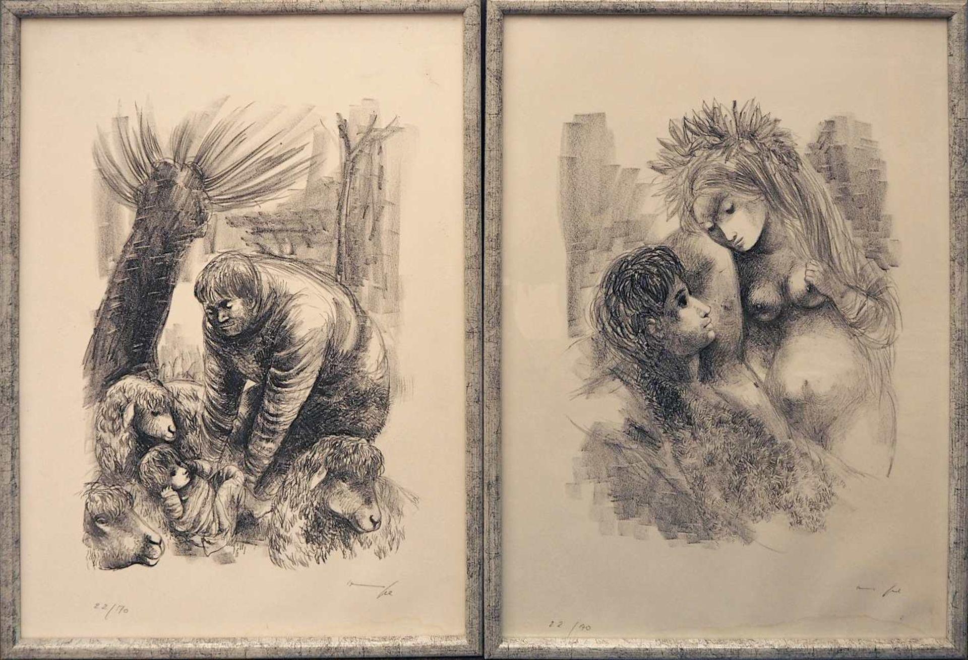 """7 Lithographien zu dem Roman """"Daphnis und Chloé"""" des LONGUS der Künstlerin Hanna NAGEL <br - Bild 4 aus 5"""