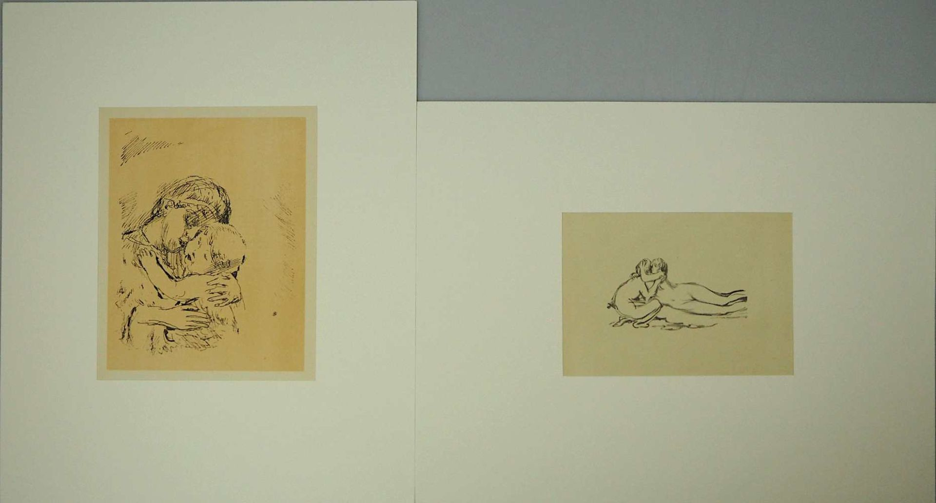 "2 Lithographien ""Couple"" und ""Saint Monique"" je rücks. zugeschrieben Pierre BONNARD ("