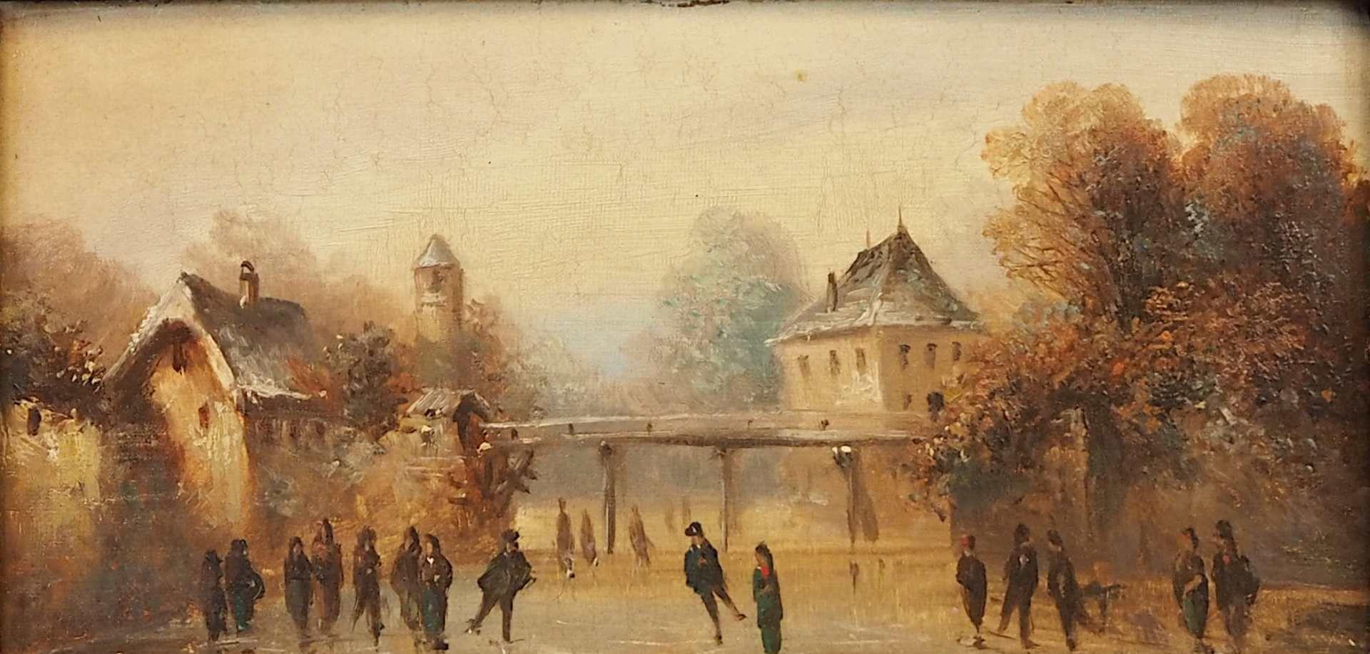 "1 Ölgemälde unsign. wohl um 1900, ""Eisvergnügen"", Öl/Platte, ca. 12x25,5cm, Craque"