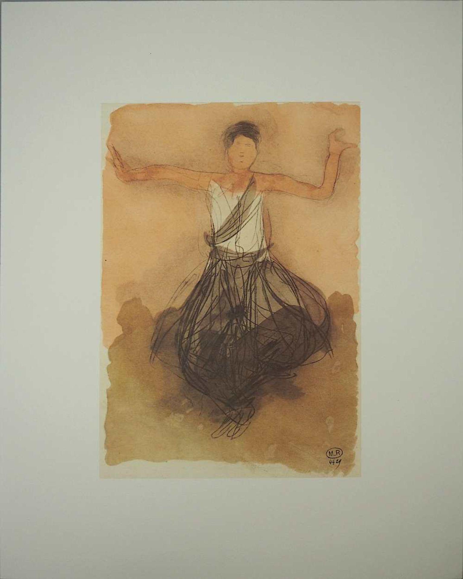 "2 Farboffset-Lithographien ""Danseuses Cambodgiennes"" rücks. zugeschrieben Auguste RODIN <br - Bild 2 aus 5"