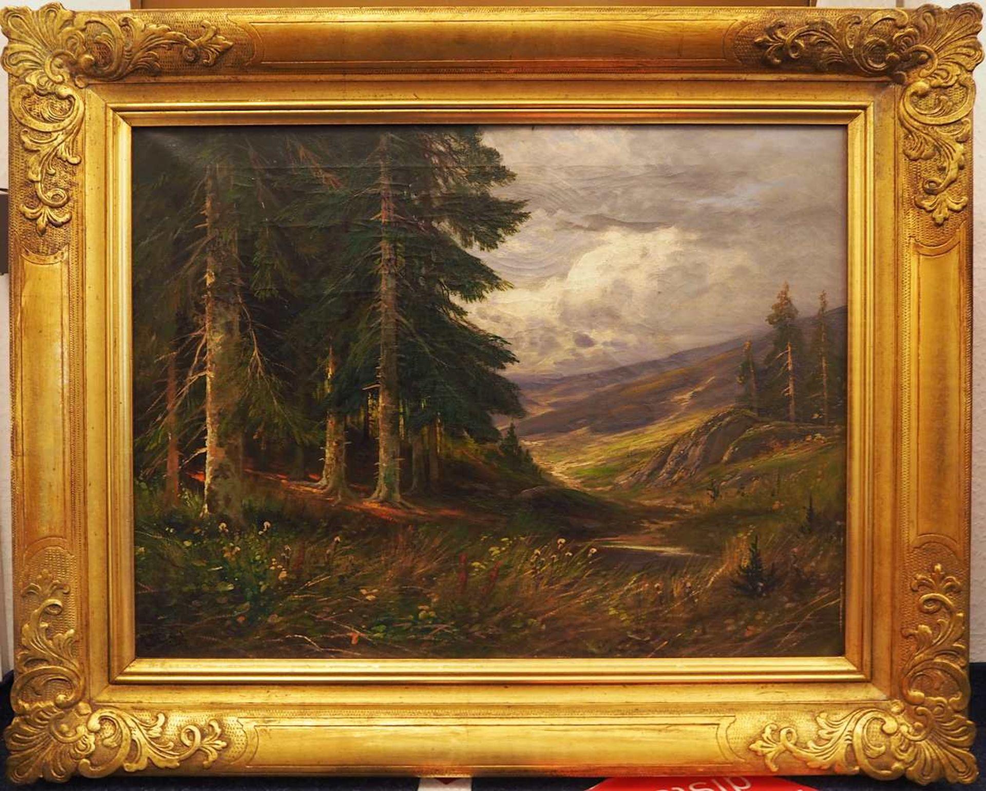 """1 Ölgemälde """"Ausblick auf eine wolkenverhangene Landschaft"""" L.u. sign. A. BELL (wohl - Bild 2 aus 4"""