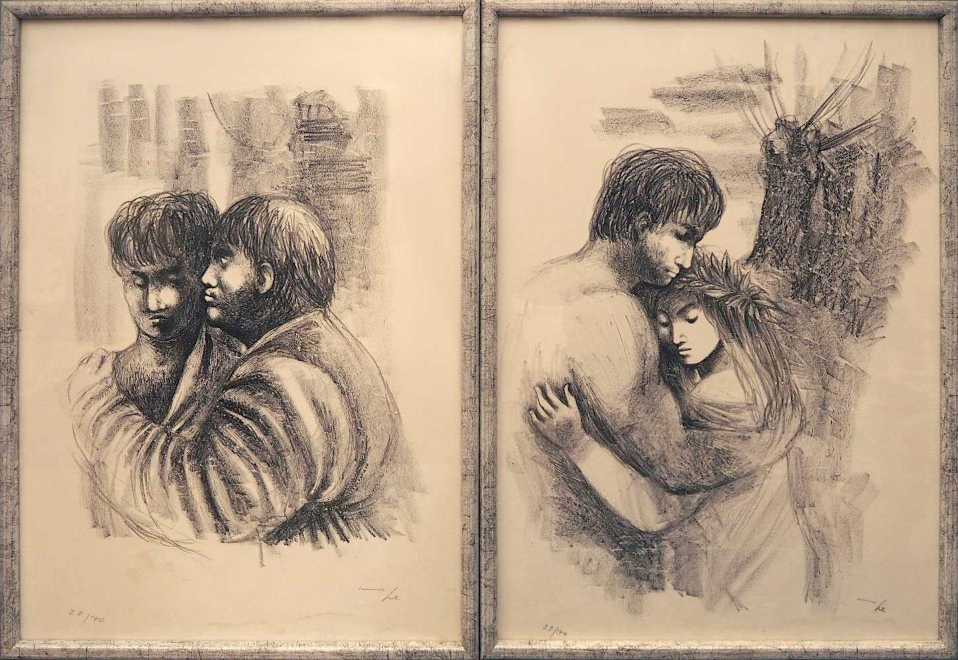 """7 Lithographien zu dem Roman """"Daphnis und Chloé"""" des LONGUS der Künstlerin Hanna NAGEL <br"""