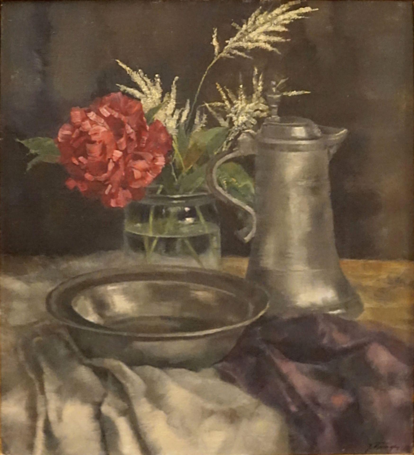 """1 Ölgemälde """"Stillleben"""" R.u. sign. J. BURGER (wohl Josef B. 1878-1966) Öl/Lwd. ca."""