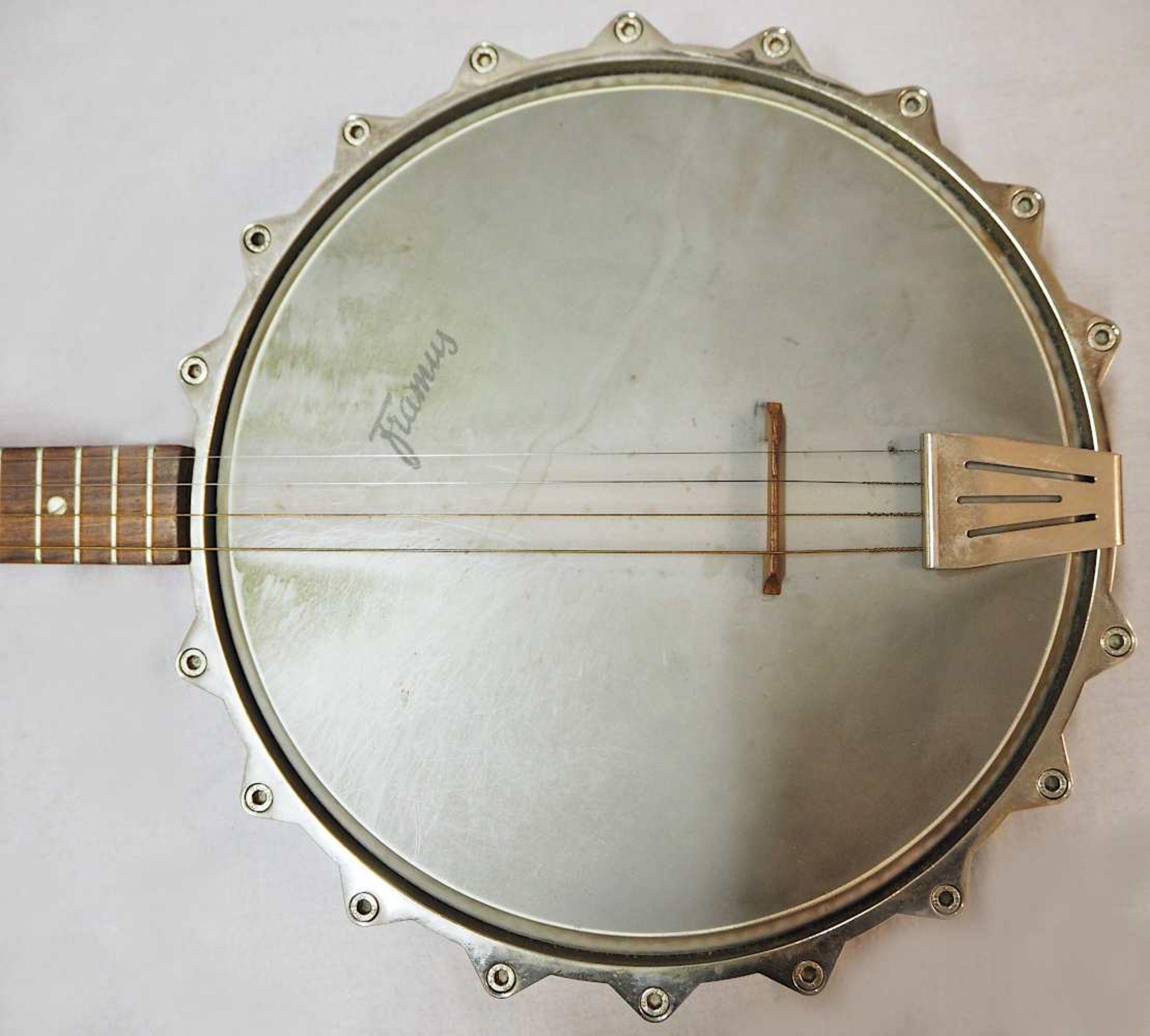 1 Banjo auf Resonanzfell/Kopfplatte bez. FRAMUS, wohl 1960er Jahre 4-saitig, mit Metal - Bild 2 aus 5