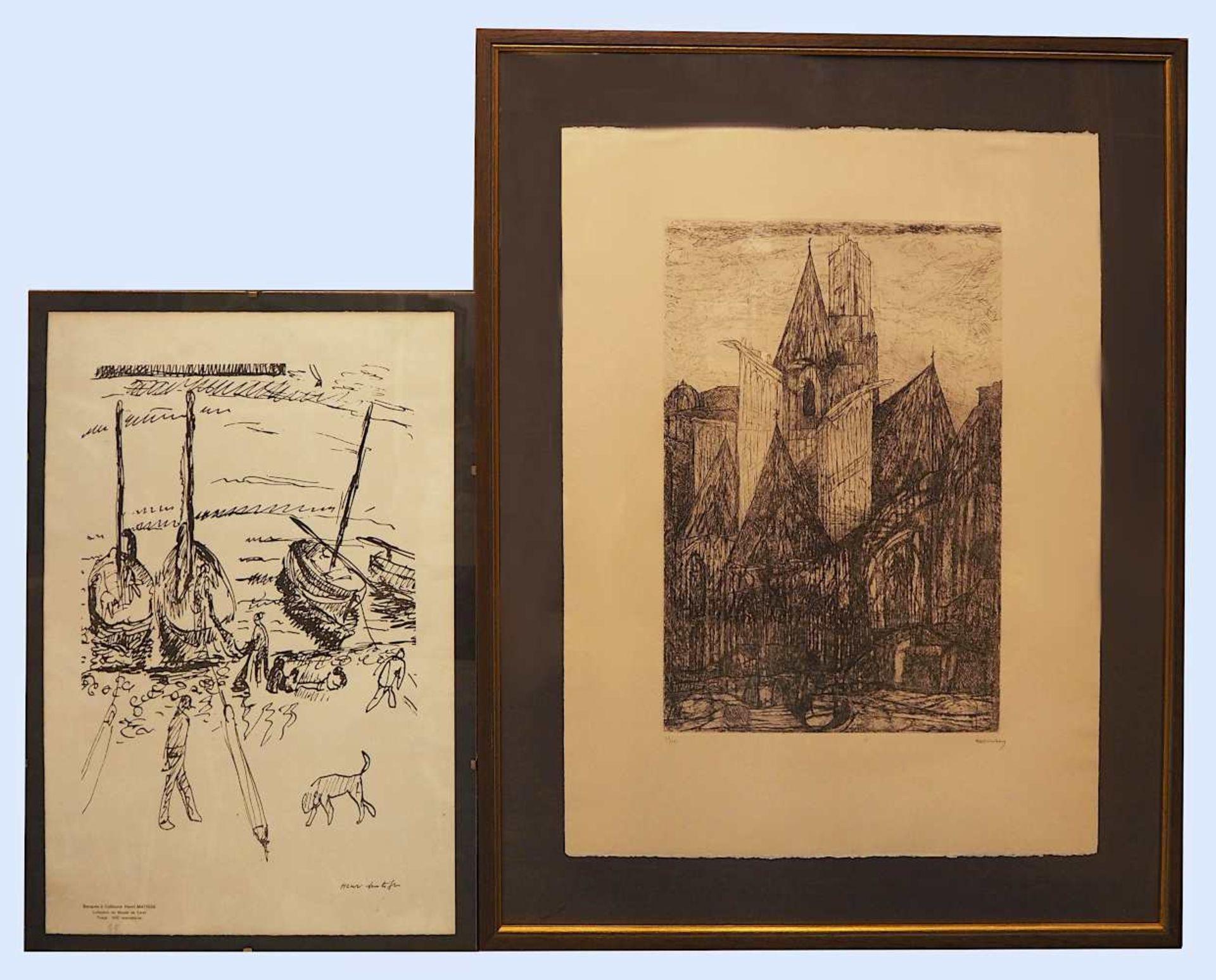 """1 Konv. Grafiken 20. Jh. verschiedener Motive und Künstler: 1 Radierung """"Kathedrale"""""""