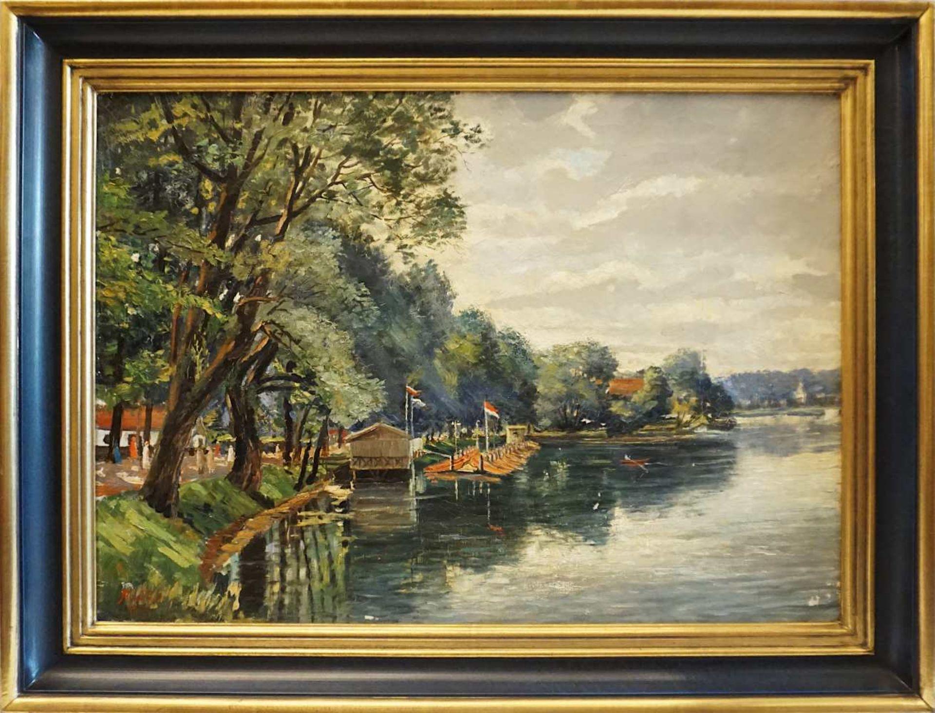 "1 Ölgemälde ""Bootssteg am Nürnberger Dutzendteich"" L.u. sign. A. WILD (wohl Ende 19 - Bild 2 aus 4"