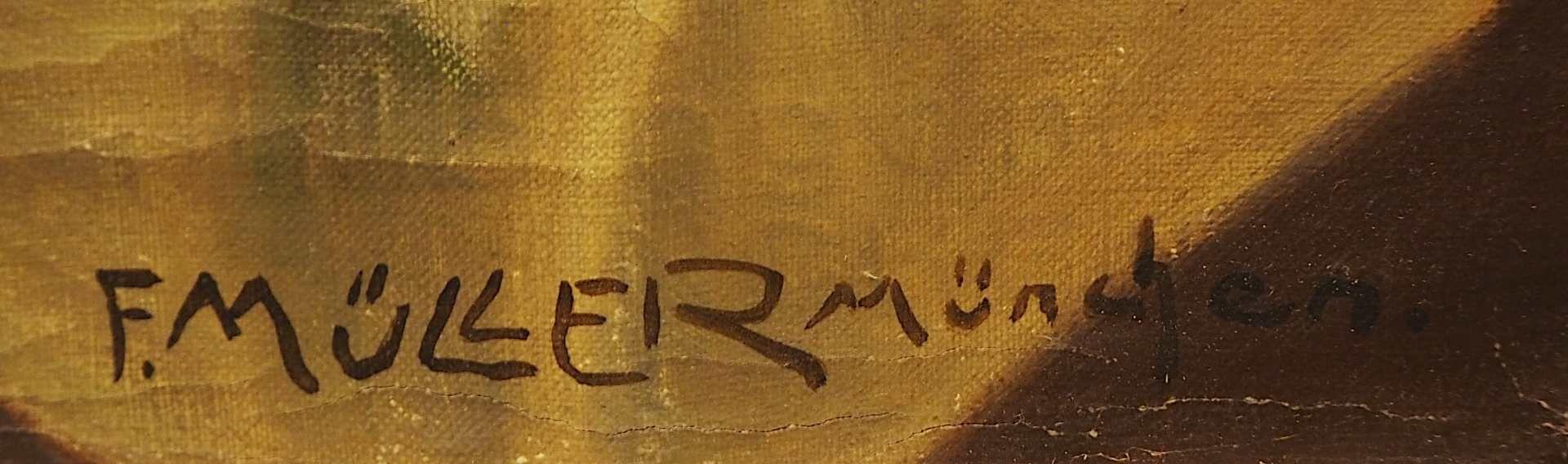 """1 Ölgemälde """"Orientalische Tänzerin mit Tamburin"""" R.u. sign. F. MÜLLER (wohl um 19 - Bild 3 aus 4"""