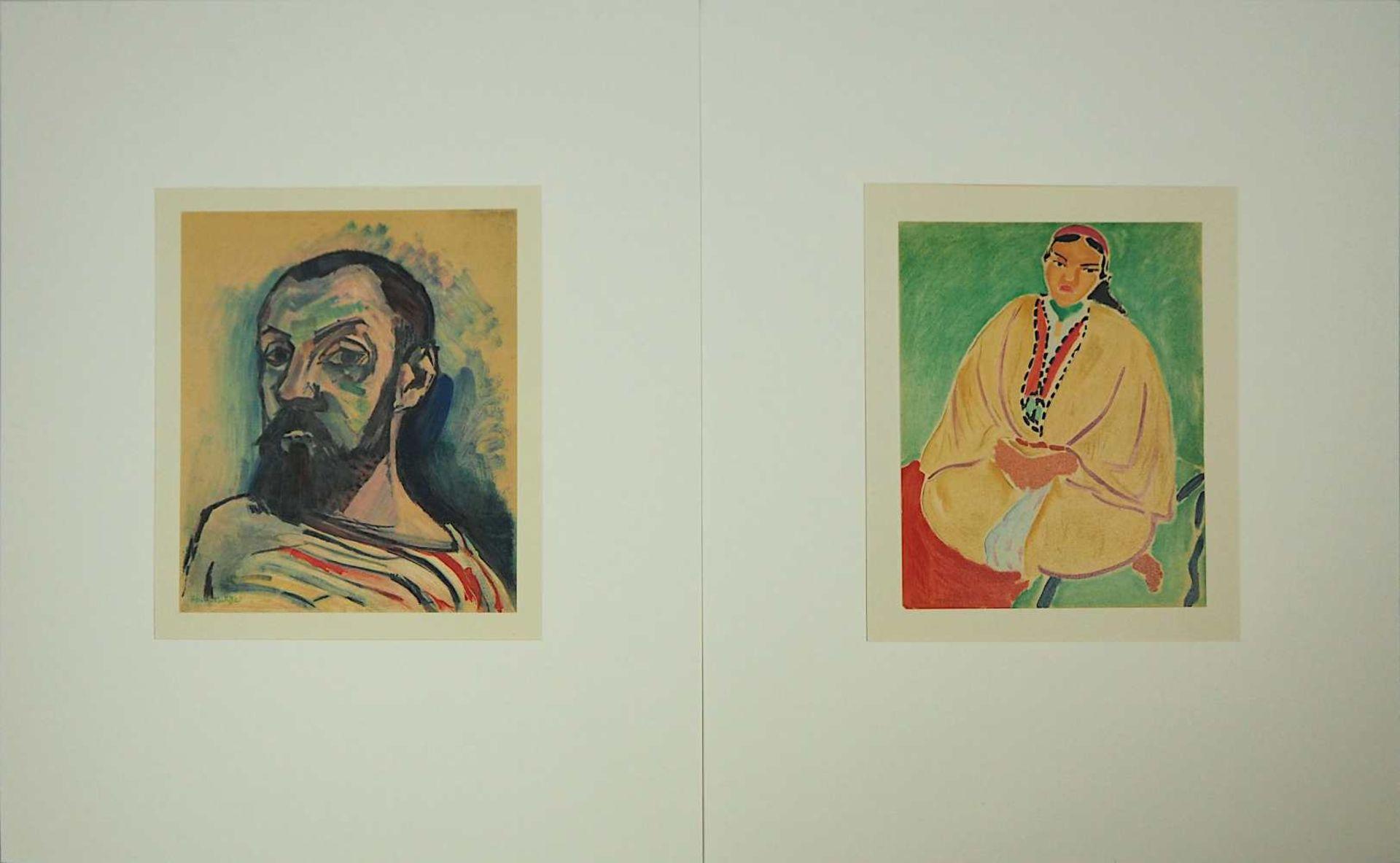"""2 Farblithographien je """"Portrait"""" je L.u. sign./rücks. zugeschrieben Henri MATISSE (w"""