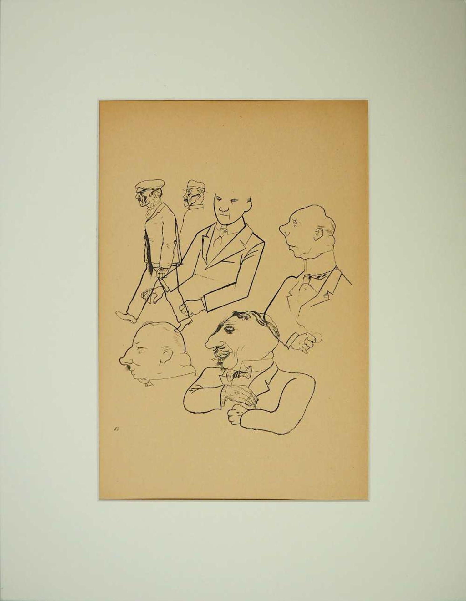 "1 Lithographie ""Köpfe"" rücks. zugeschrieben Georges GROSZ (wohl 1893-1959) aus: ""Ecc"
