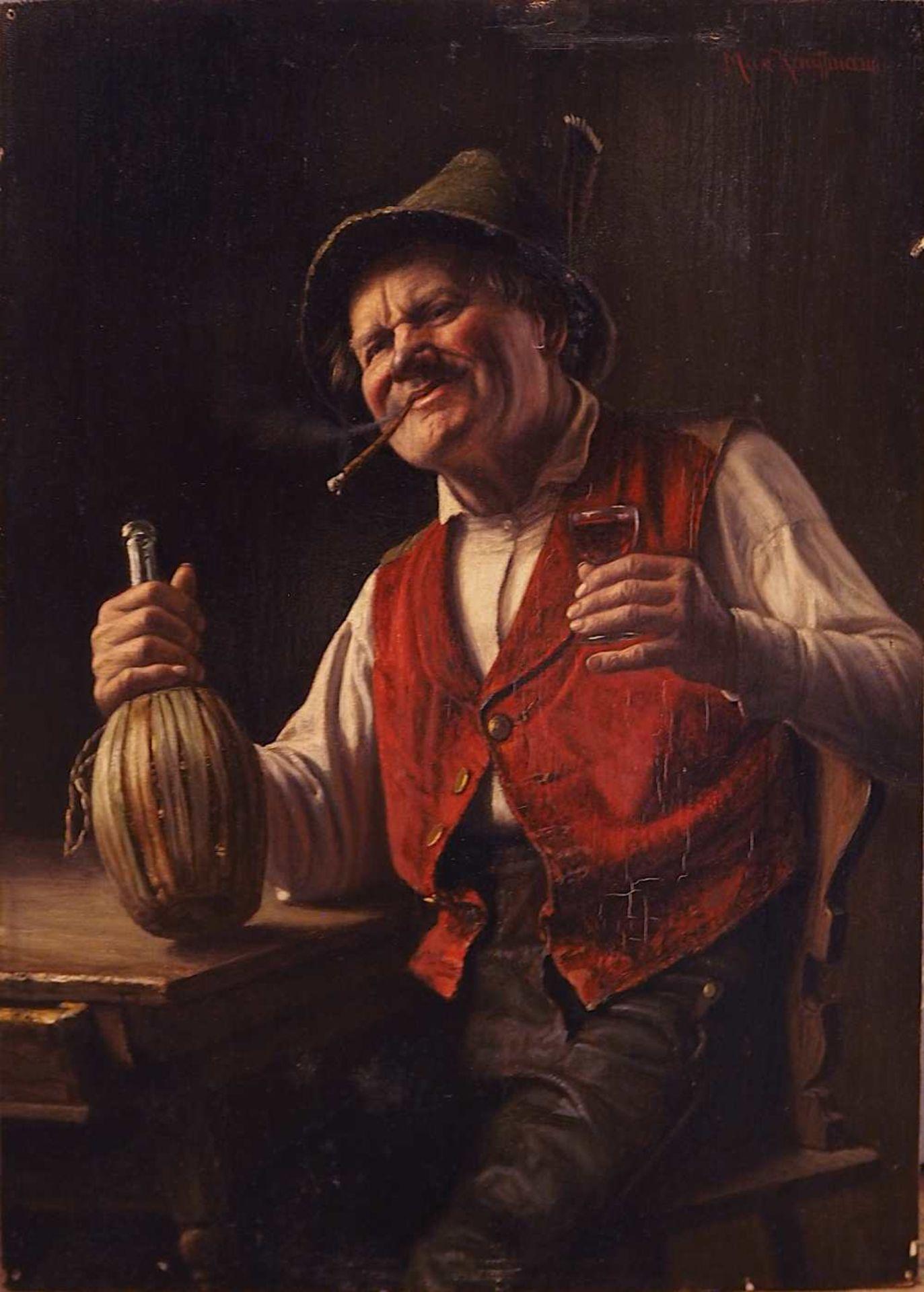 """1 Ölgemälde """"Tiroler Bauer mit Korbflasche"""" R.o. sign. Max KAUFFMANN (wohl 1846-1913"""