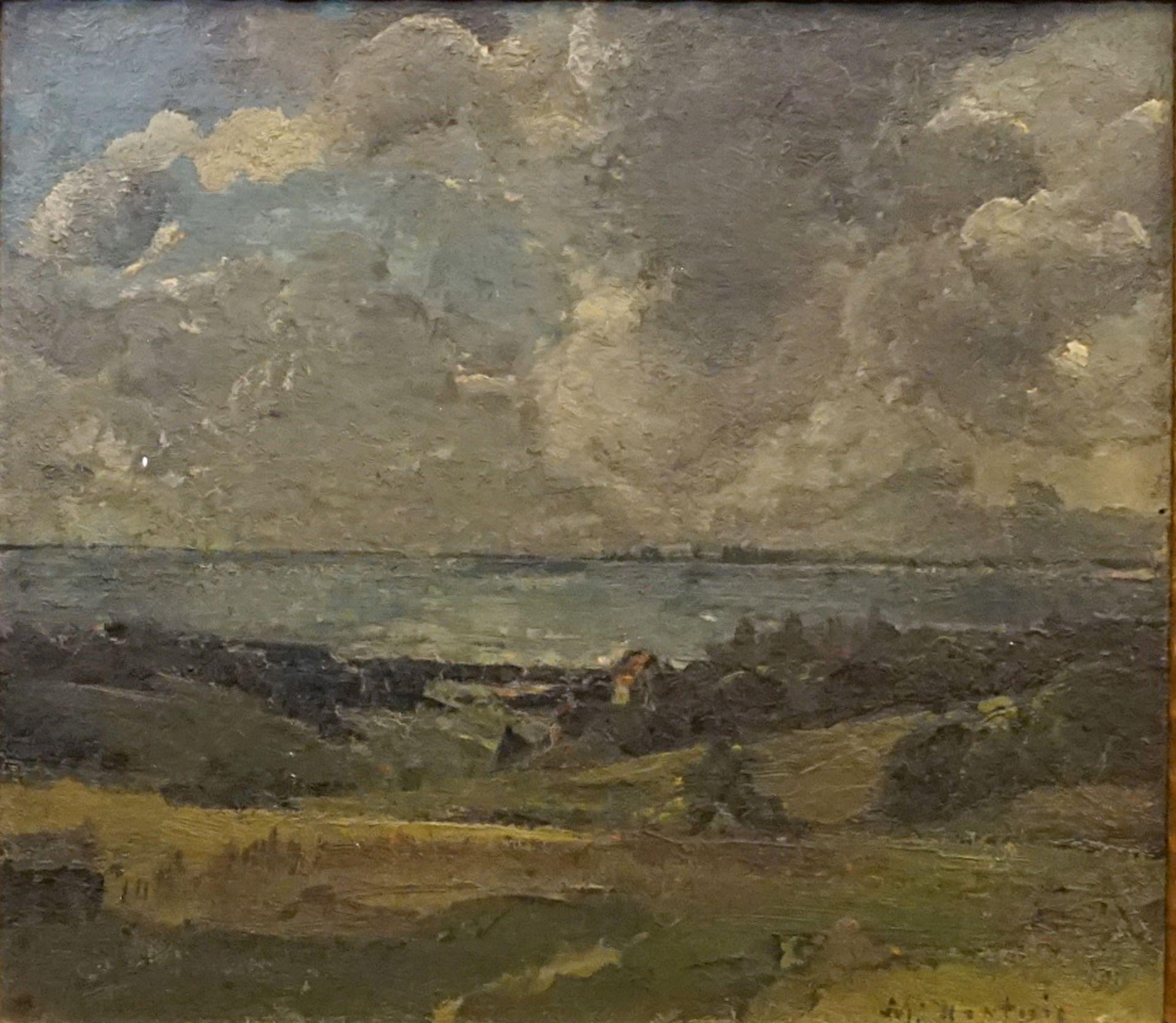 """1 Ölgemälde """"Süddeutsche Seenlandschaft"""" R.u. sign. M. HARDWIG (wohl Max H. 1873-19"""