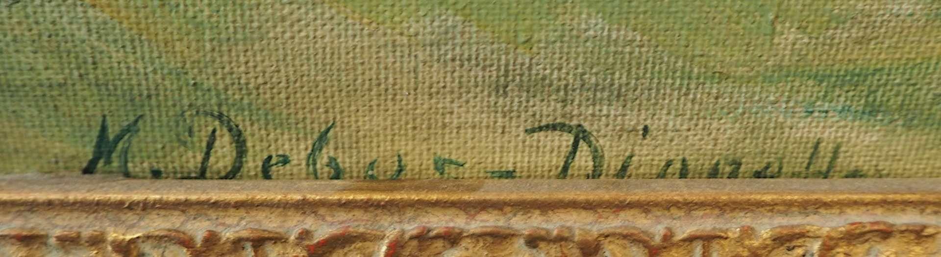 """1 Ölgemälde """"Blumenstillleben mit Sonnenblumen, Fayenceteller und Äpfeln"""" R.u. sign. M. DEBUS - Bild 3 aus 4"""